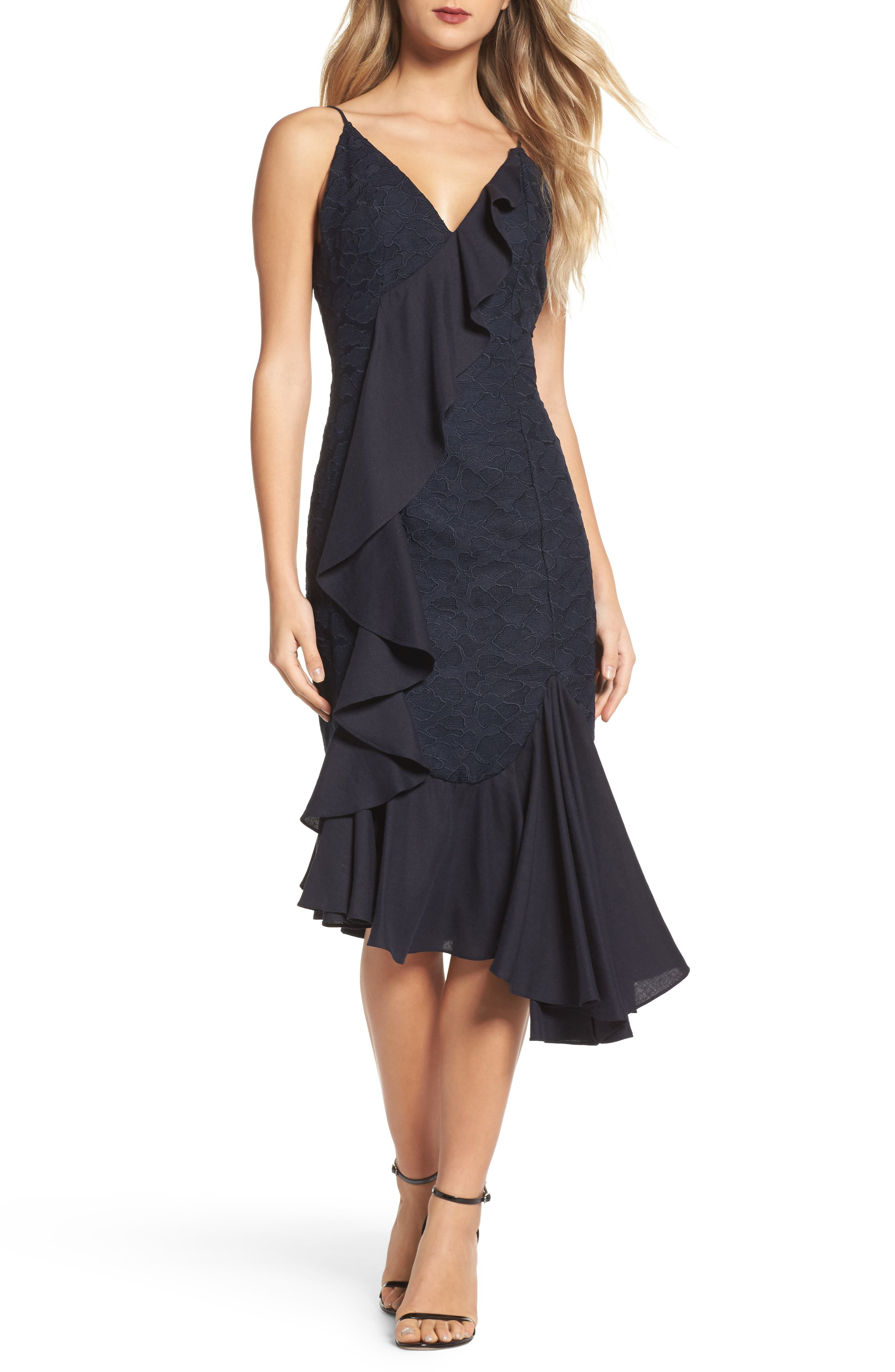 Main Image - C/MEO Collective Phase Ruffled Lace Midi Dress