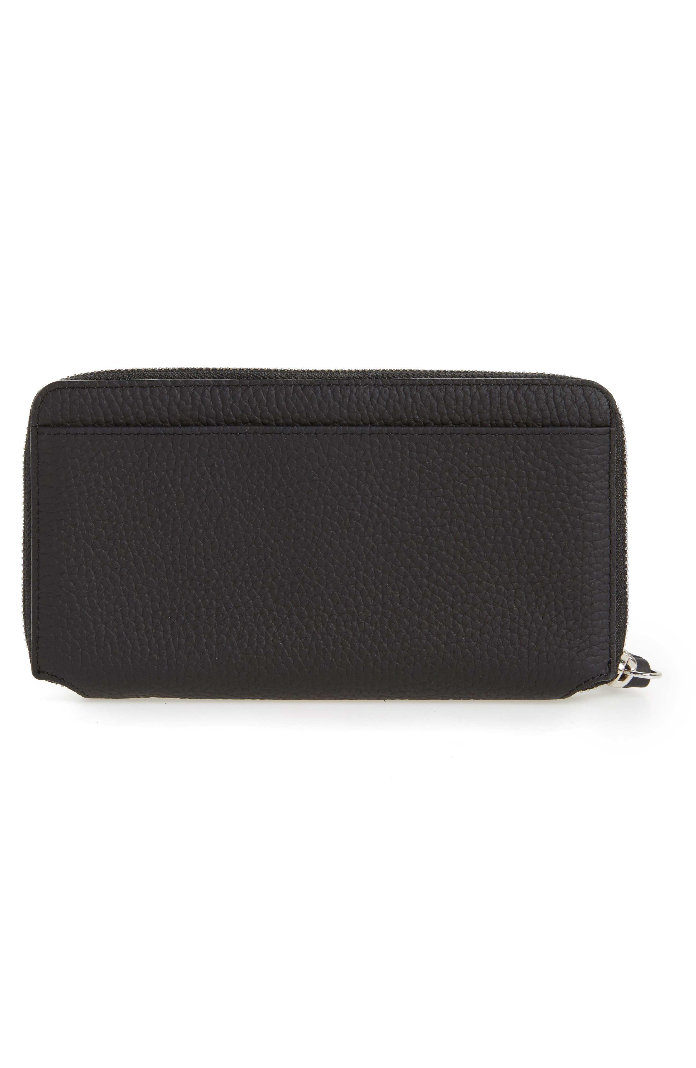 Fetch Leather Phone Wristlet,                             Alternate thumbnail 3, color,                             Black