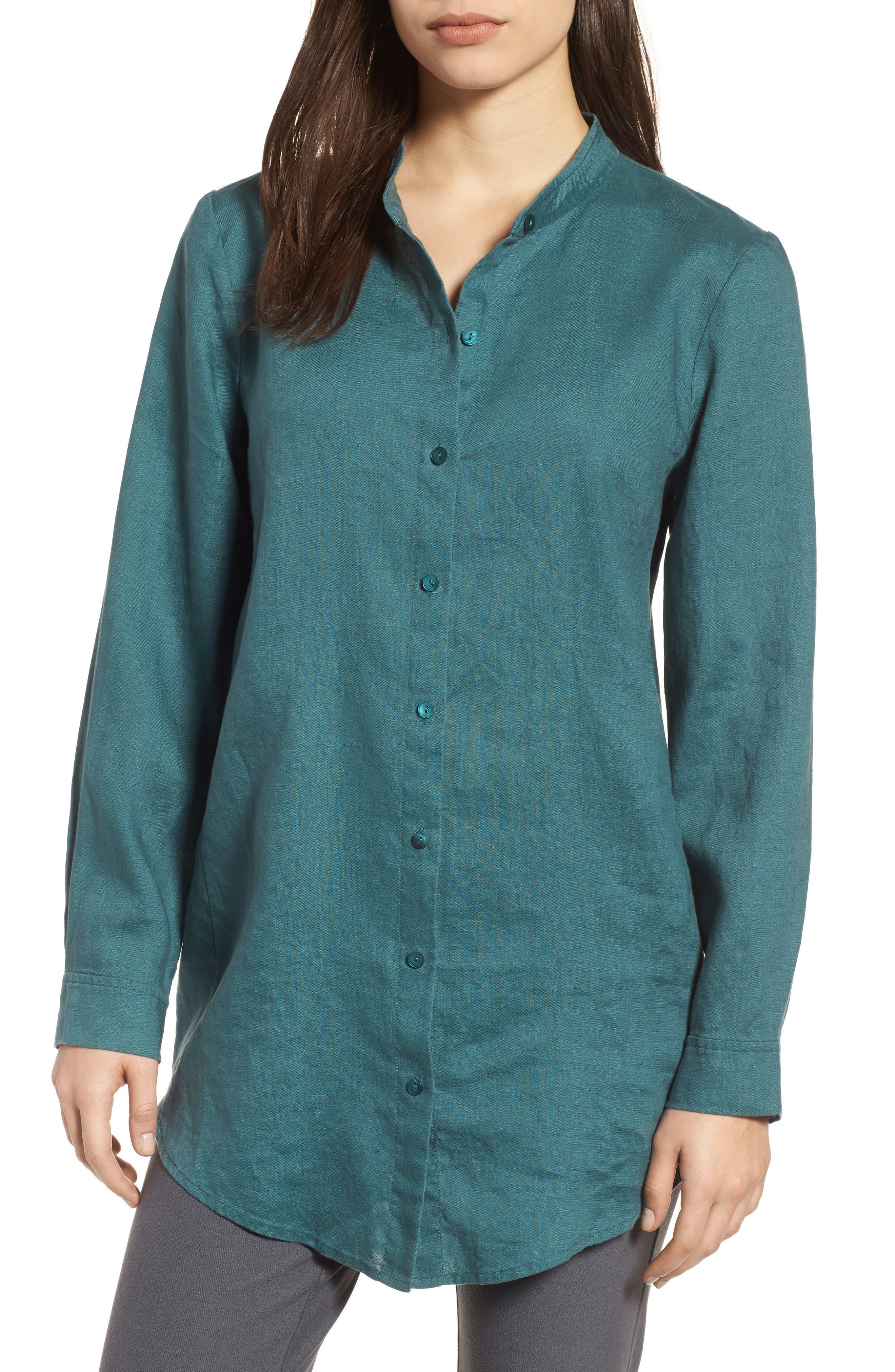 Organic Linen Tunic Shirt,                             Main thumbnail 1, color,                             Dragonfly