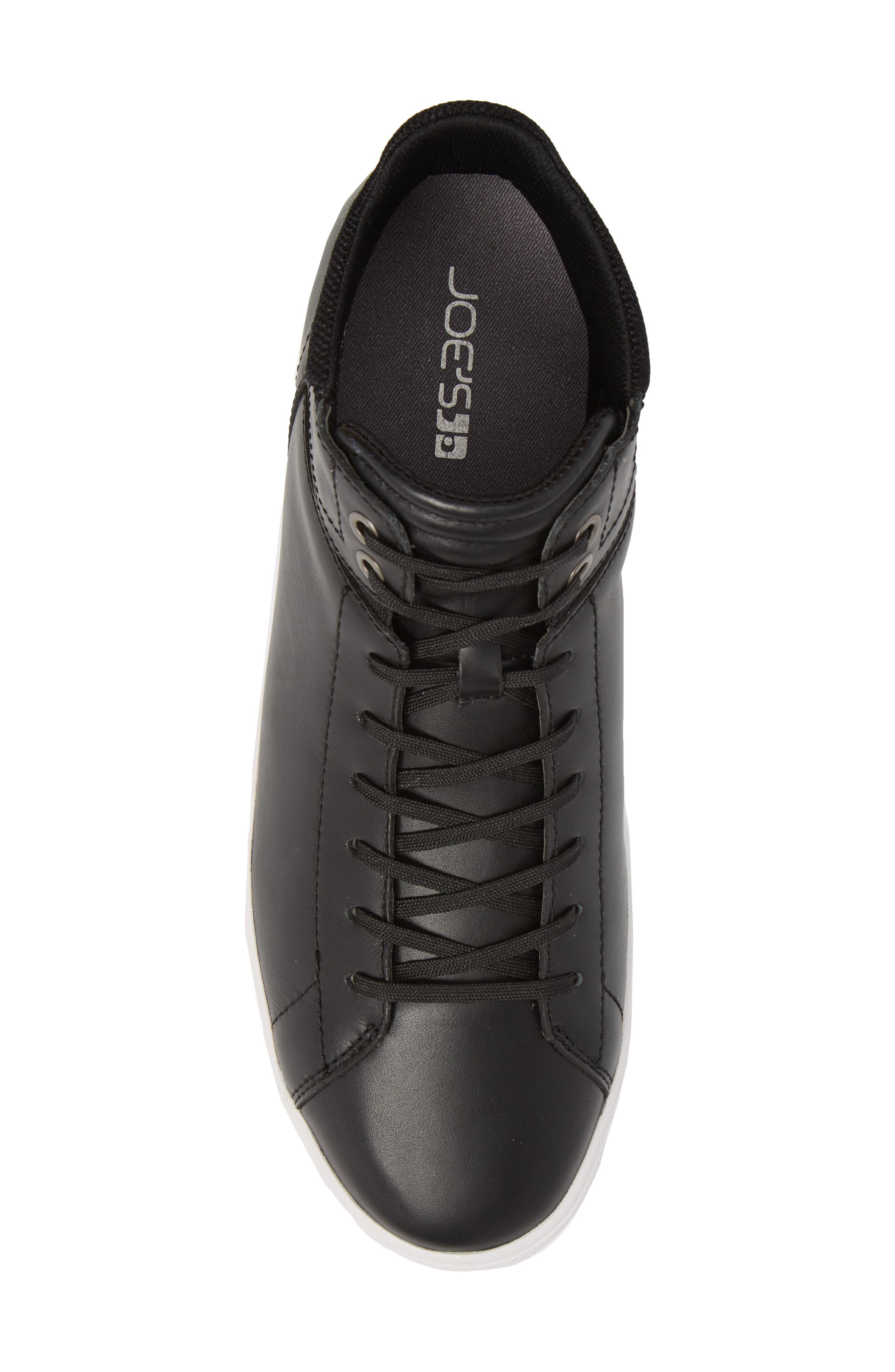 Joe Z Mid Top Sneaker,                             Alternate thumbnail 5, color,                             Black Leather