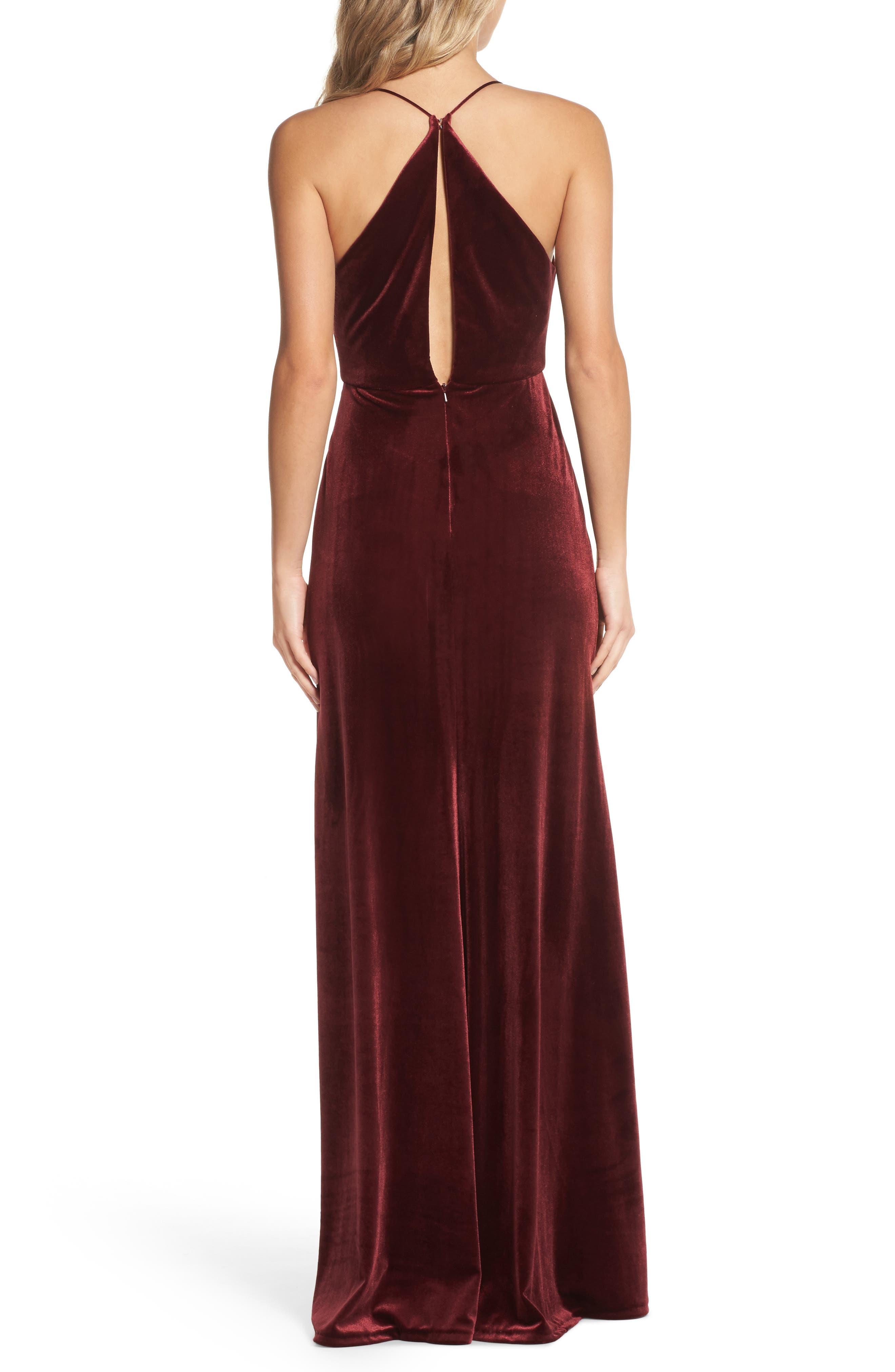 Sullivan Velvet Cowl Neck Gown,                             Alternate thumbnail 2, color,                             Dark Berry