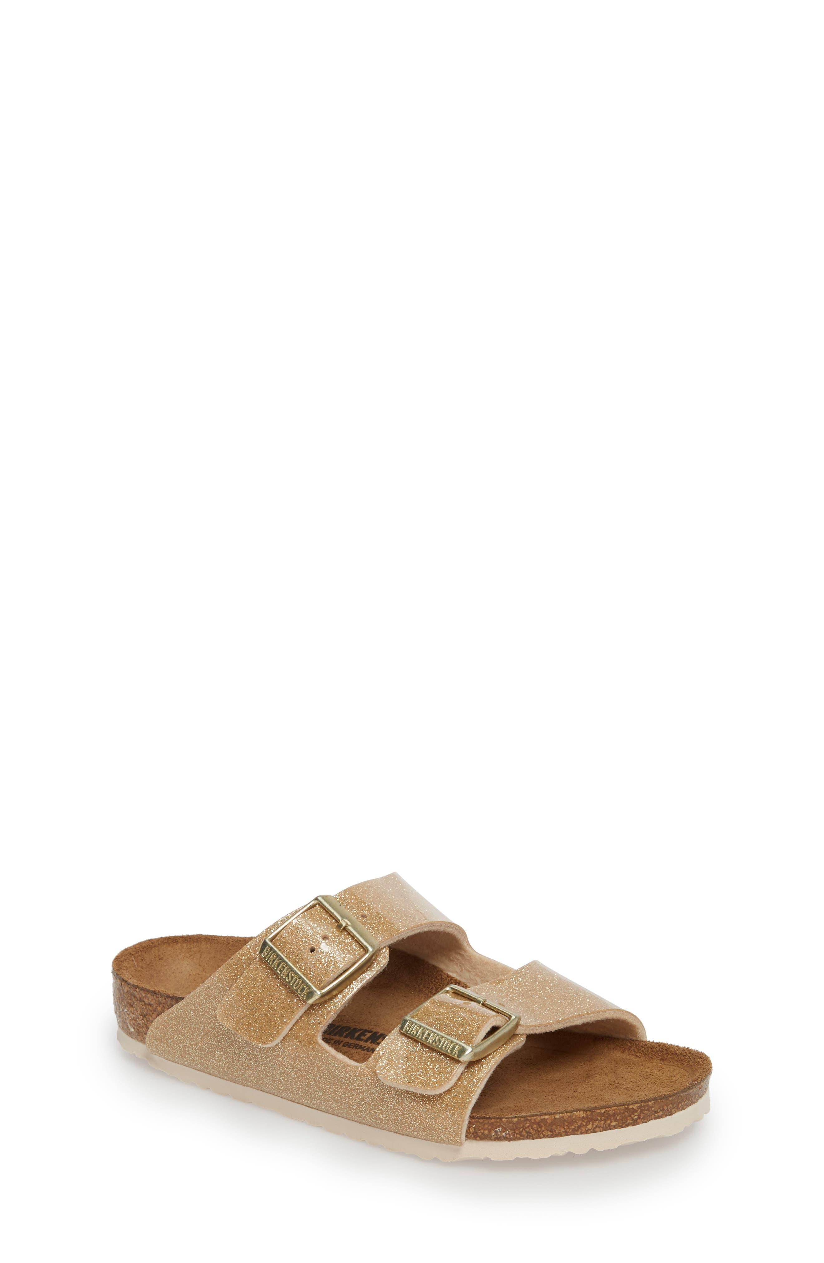 'Arizona Galaxy Birko-Flor' Slide Sandal,                             Main thumbnail 1, color,                             Galaxy Gold
