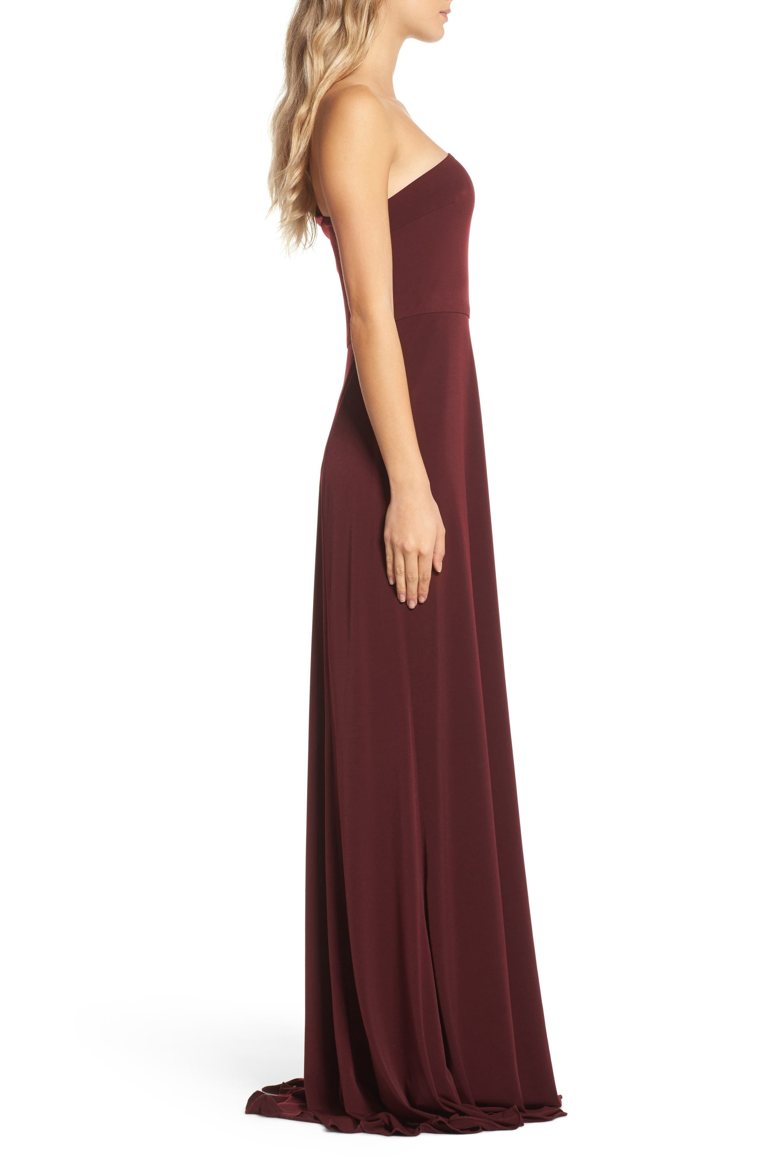 Jersey One-Shoulder Gown,                             Alternate thumbnail 3, color,                             Ruby