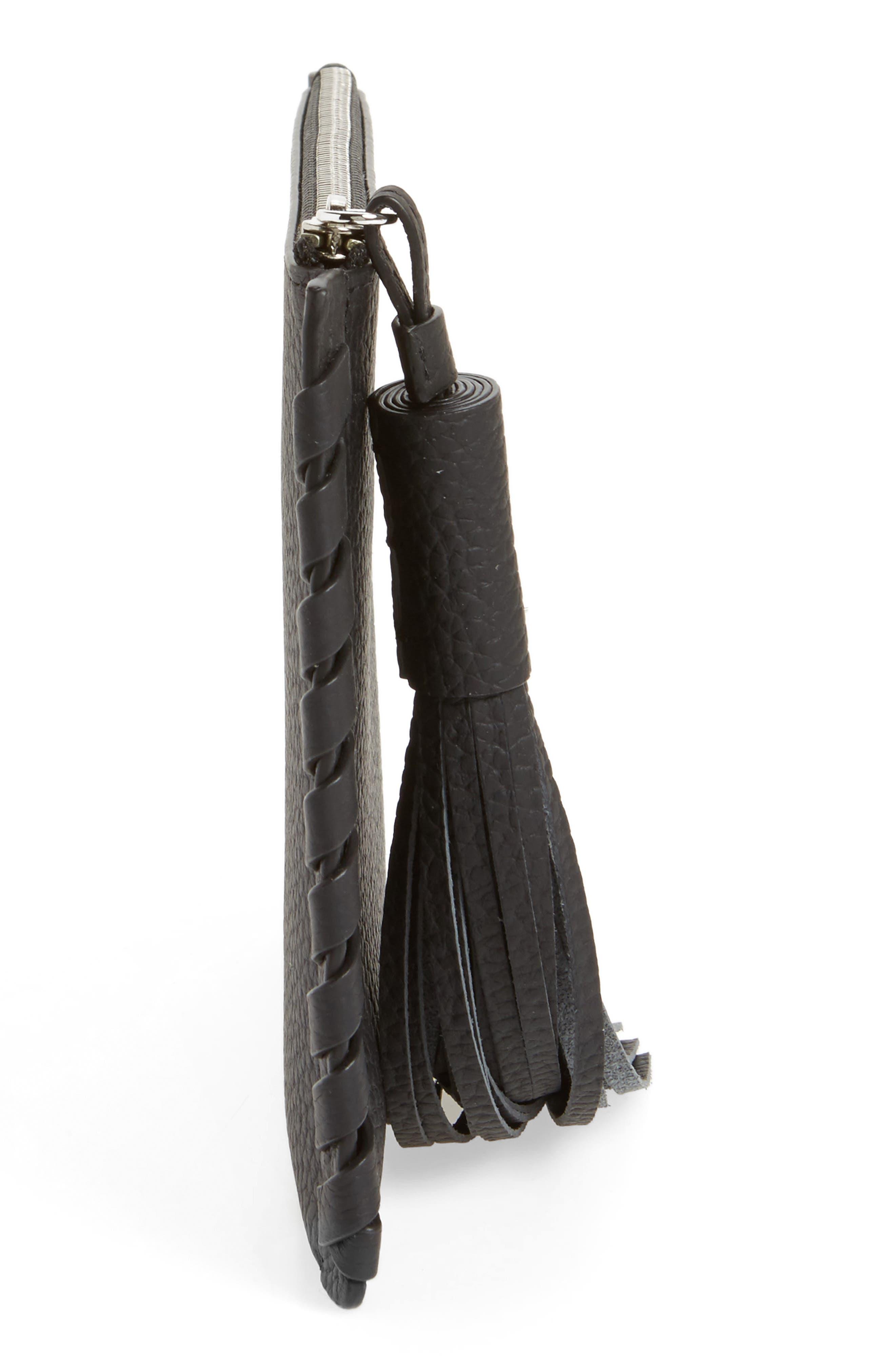 Small Kepi Leather Zip Pouch,                             Alternate thumbnail 4, color,                             Black