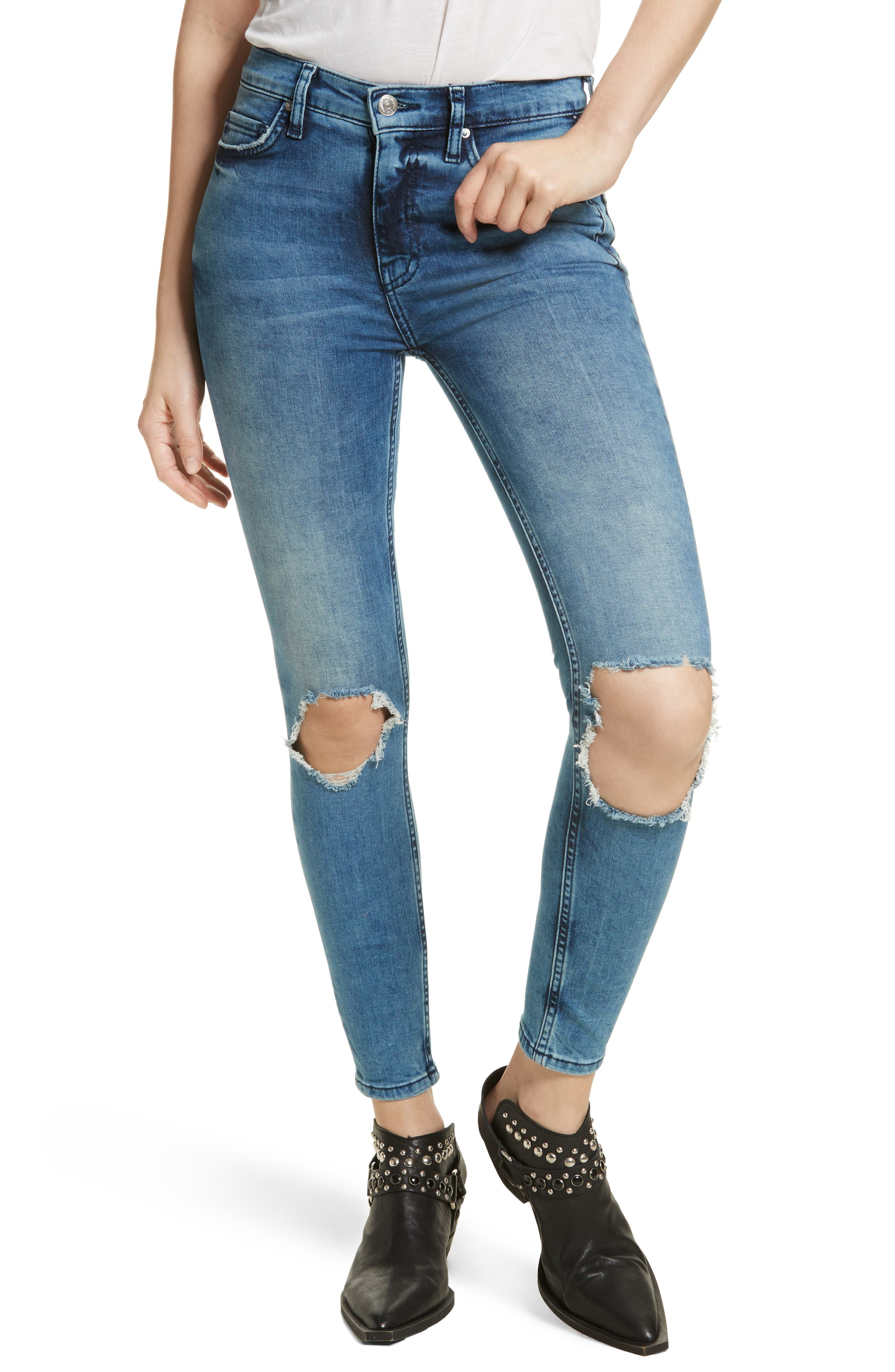 High Rise Busted Knee Skinny Jeans,                             Main thumbnail 1, color,                             Turquoise