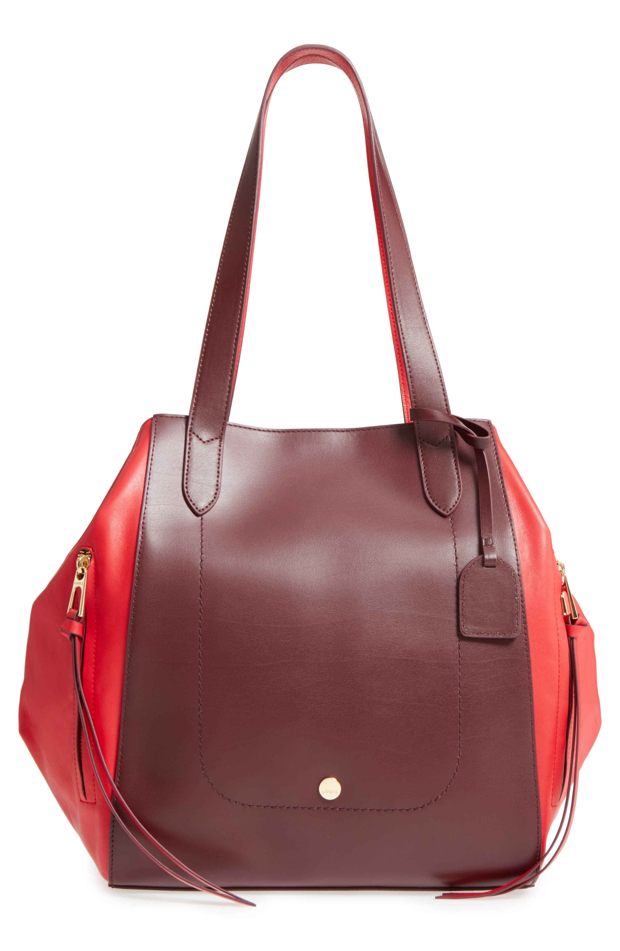 Downtown Charlize RFID Leather Tote,                             Main thumbnail 1, color,                             Red/ Chianti
