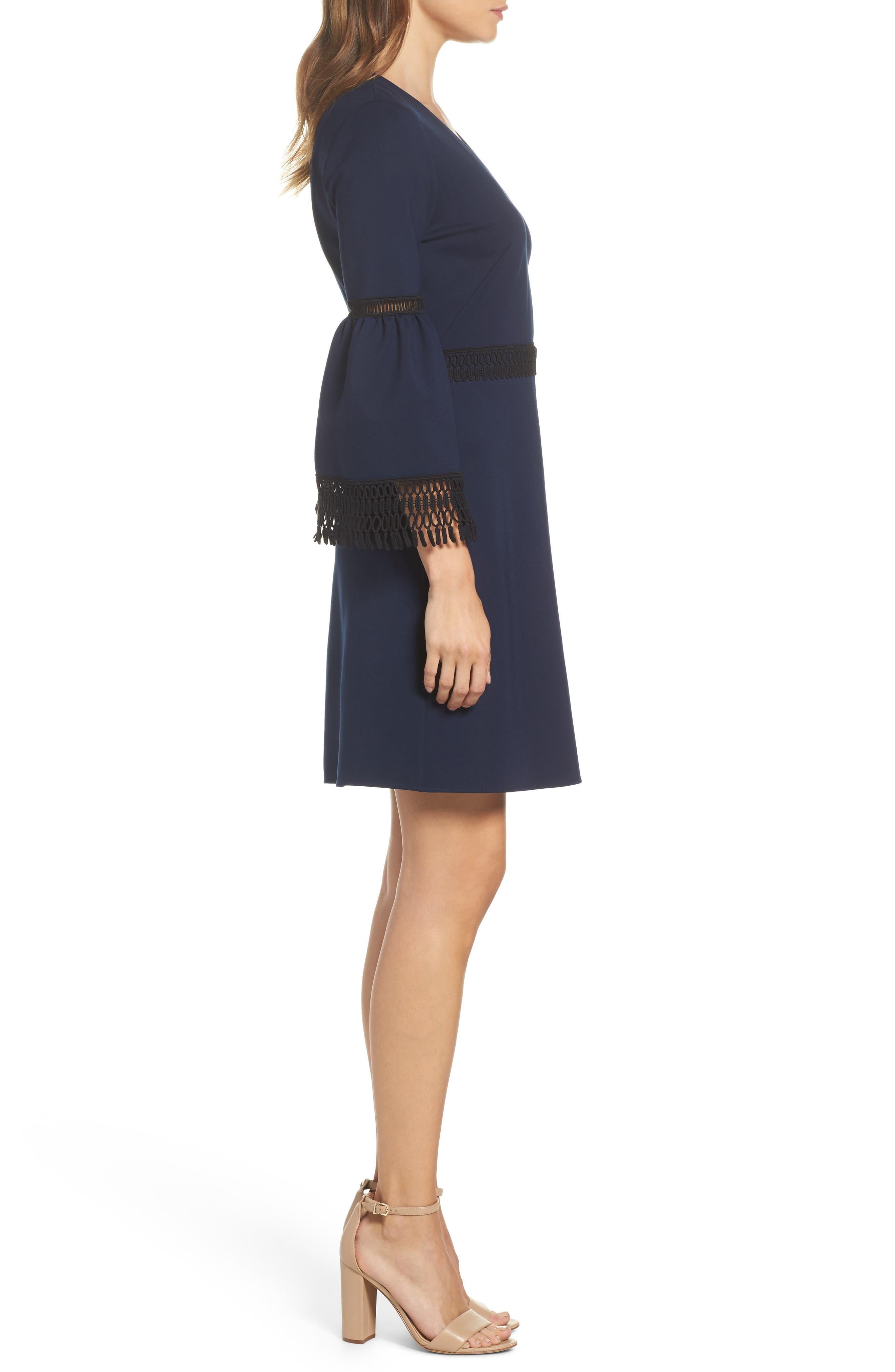 Vanessa Bell Sleeve Dress,                             Alternate thumbnail 3, color,                             Midnight Blue/ Black