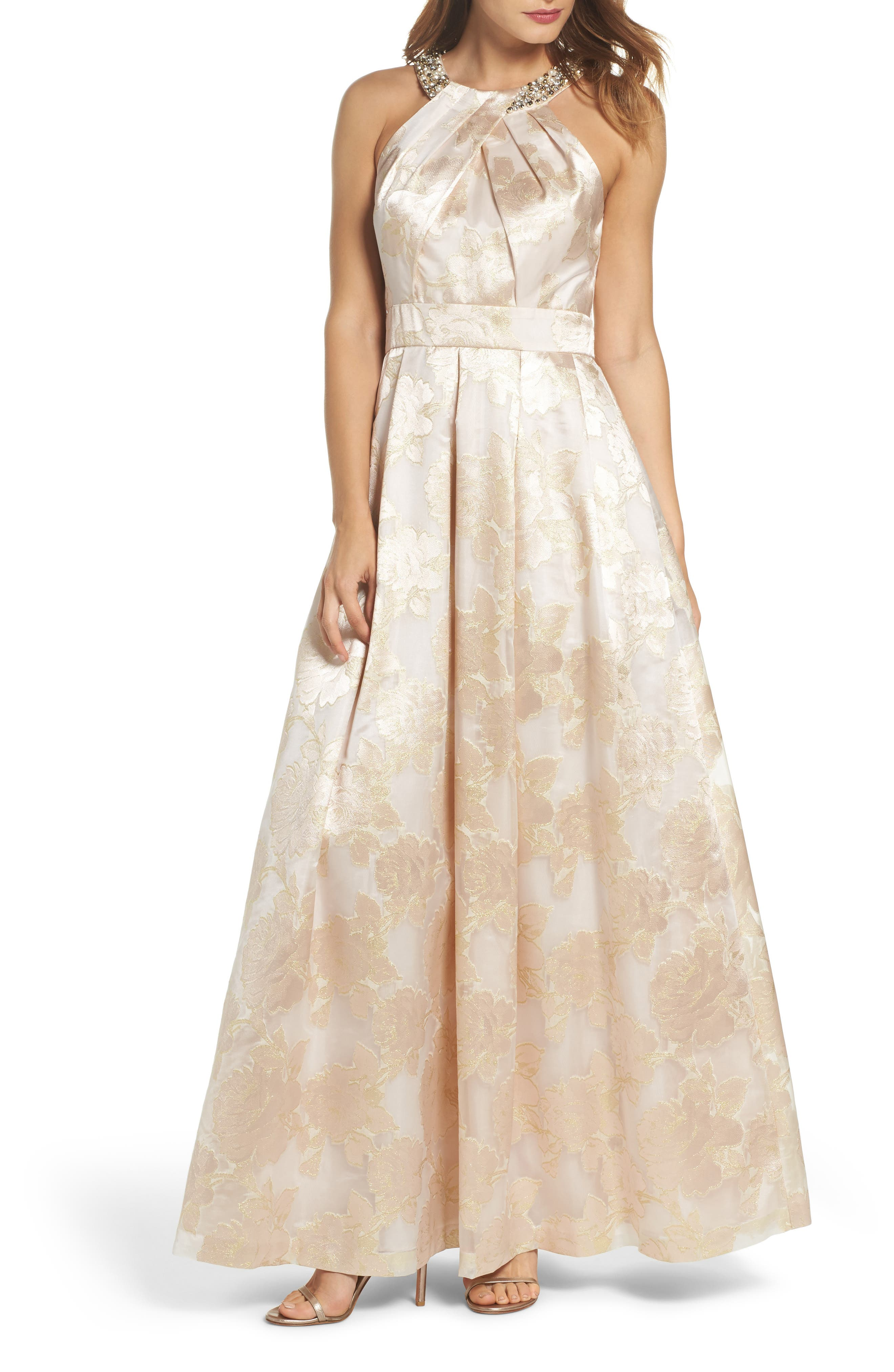Beaded Halter Neck Gown,                             Main thumbnail 1, color,                             Blush