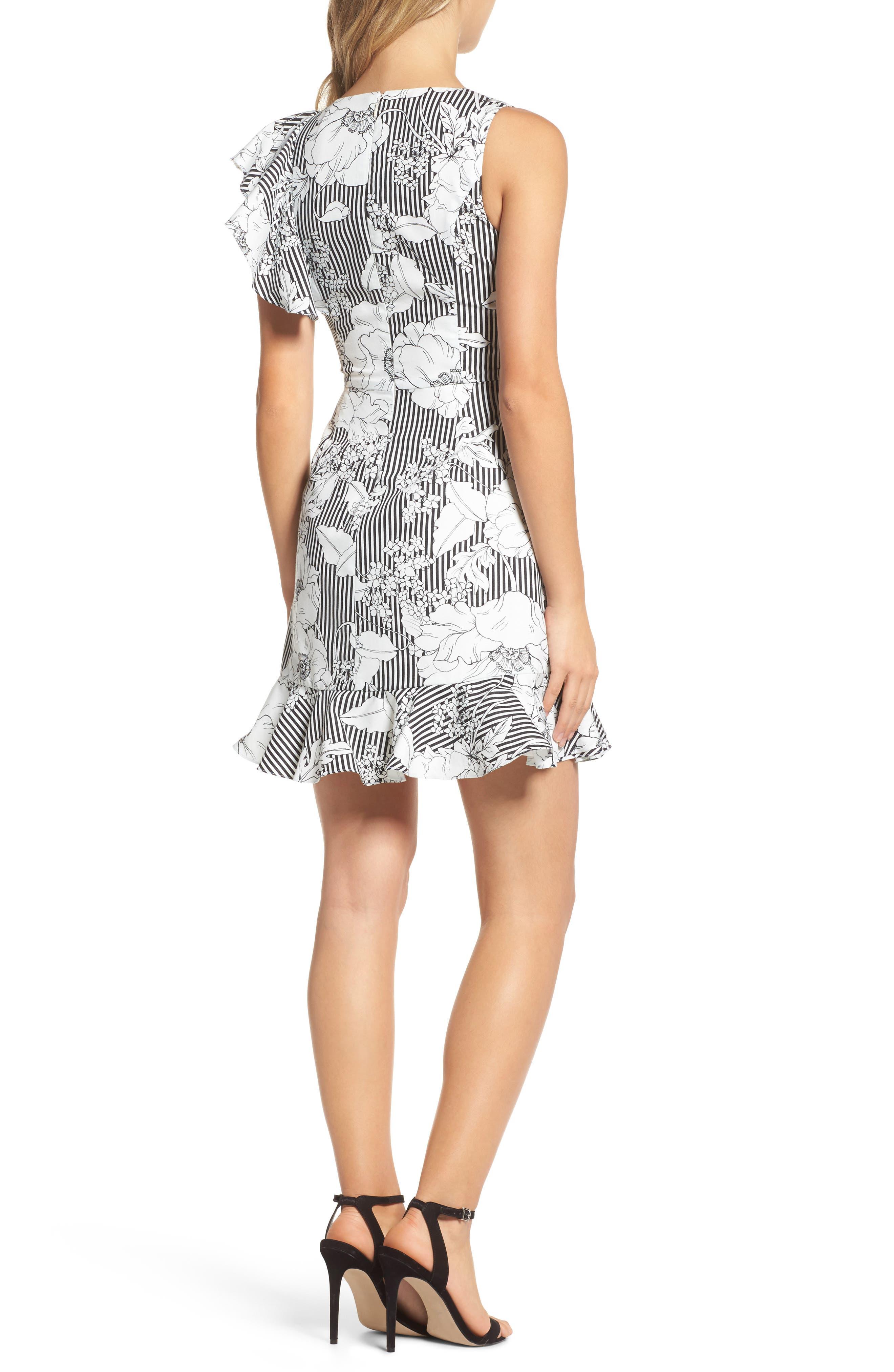 Floral Asymmetrical Ruffle Dress,                             Alternate thumbnail 2, color,                             Black White Floral