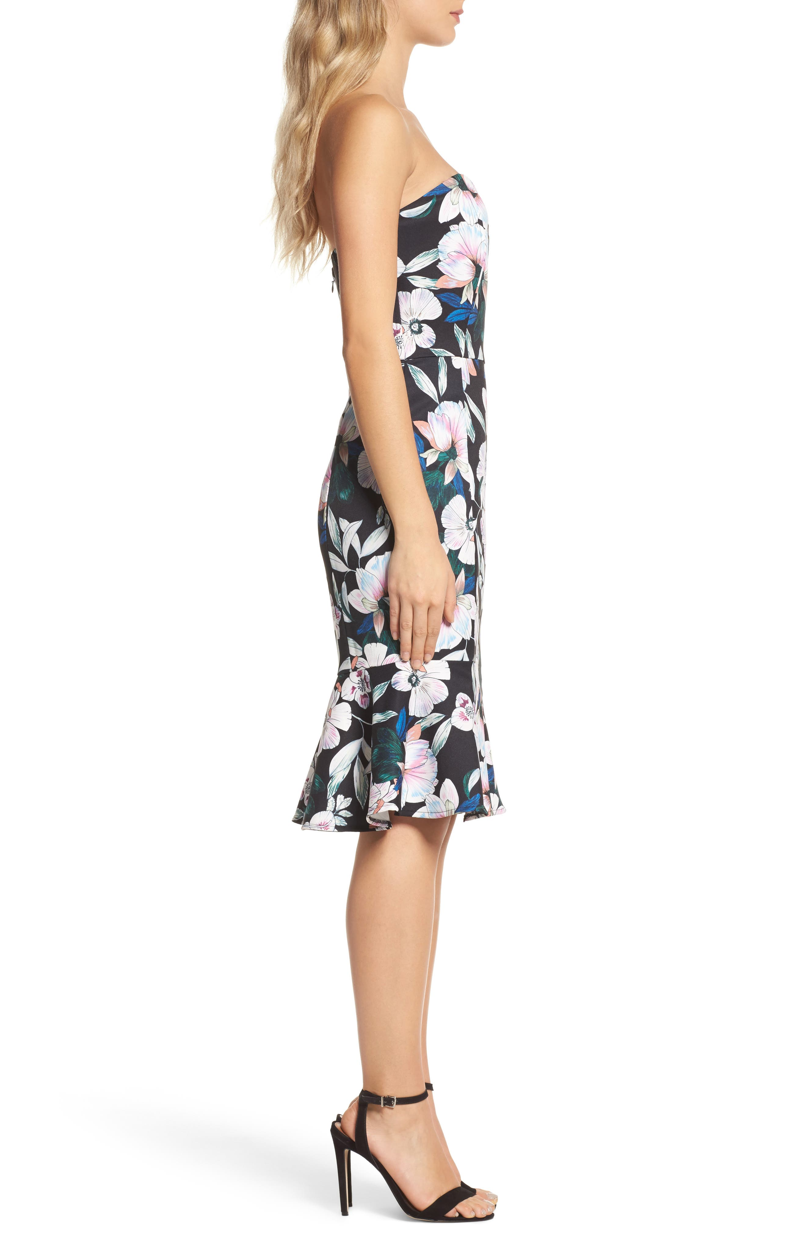Whimsical Blooms Strapless Dress,                             Alternate thumbnail 3, color,                             Print