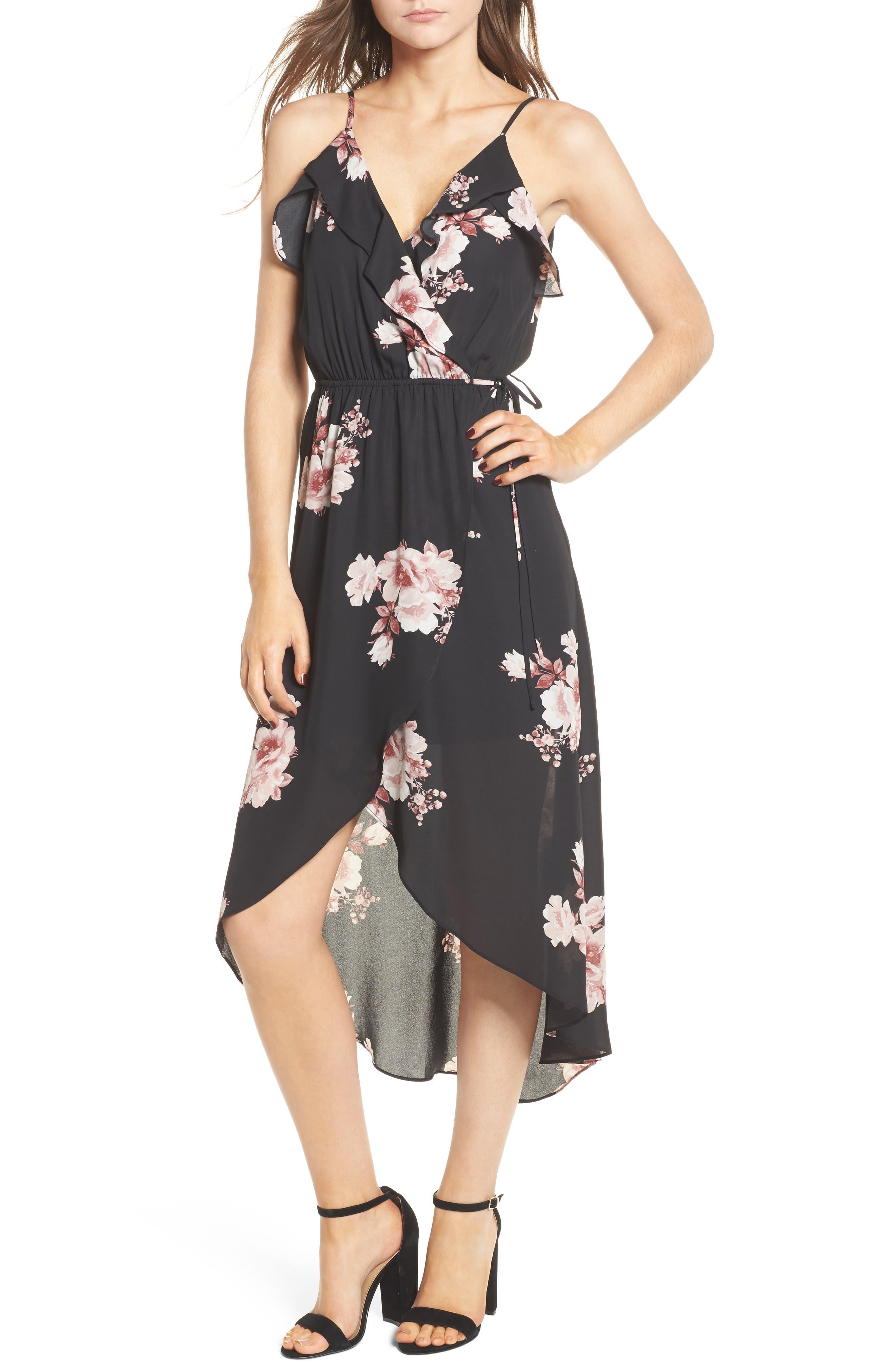 Ruffle Surplice Dress,                             Main thumbnail 1, color,                             75 Black Mauve