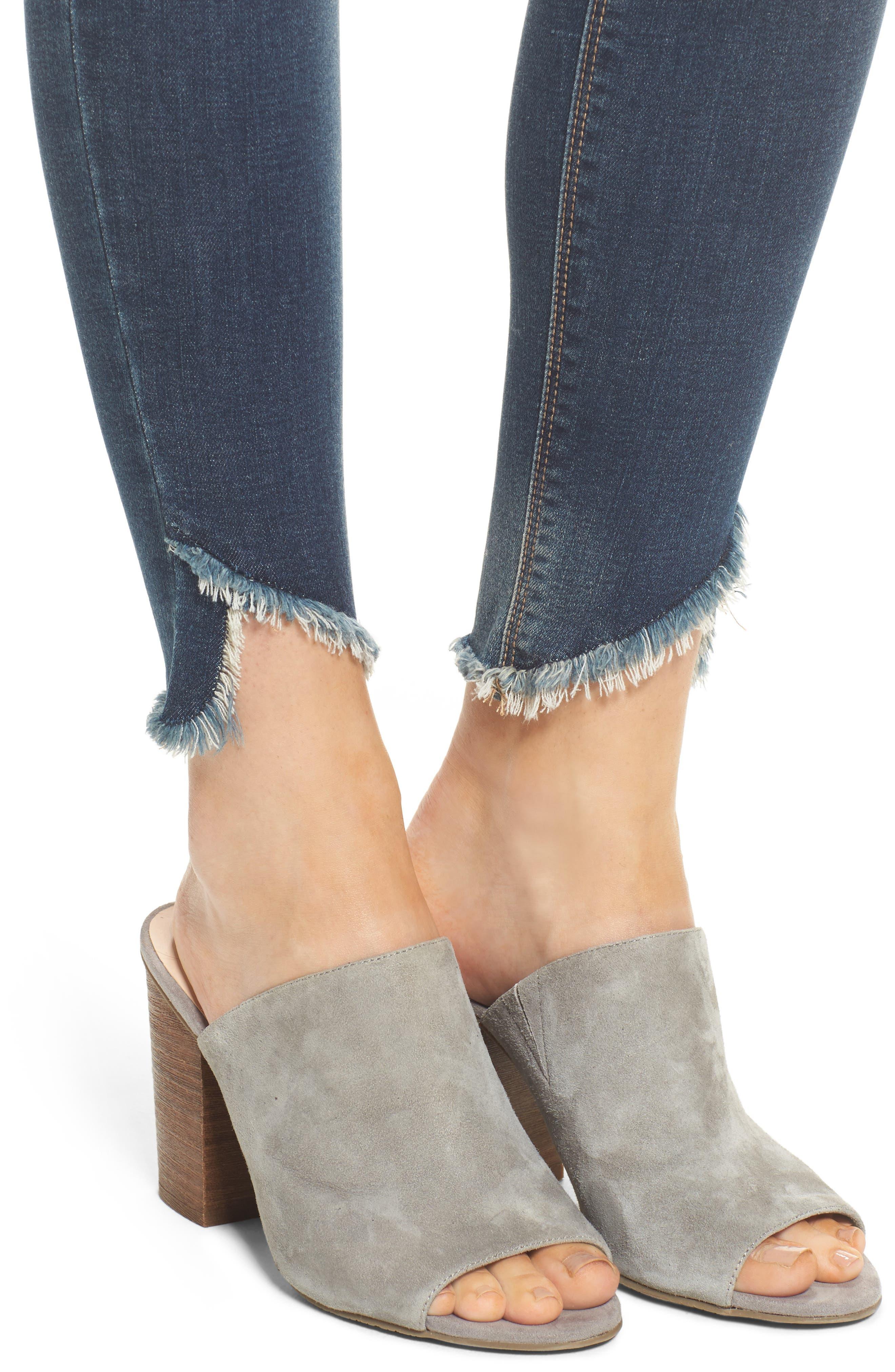 Ripped Raw Hem Skinny Jeans,                             Alternate thumbnail 4, color,                             Medium Dark