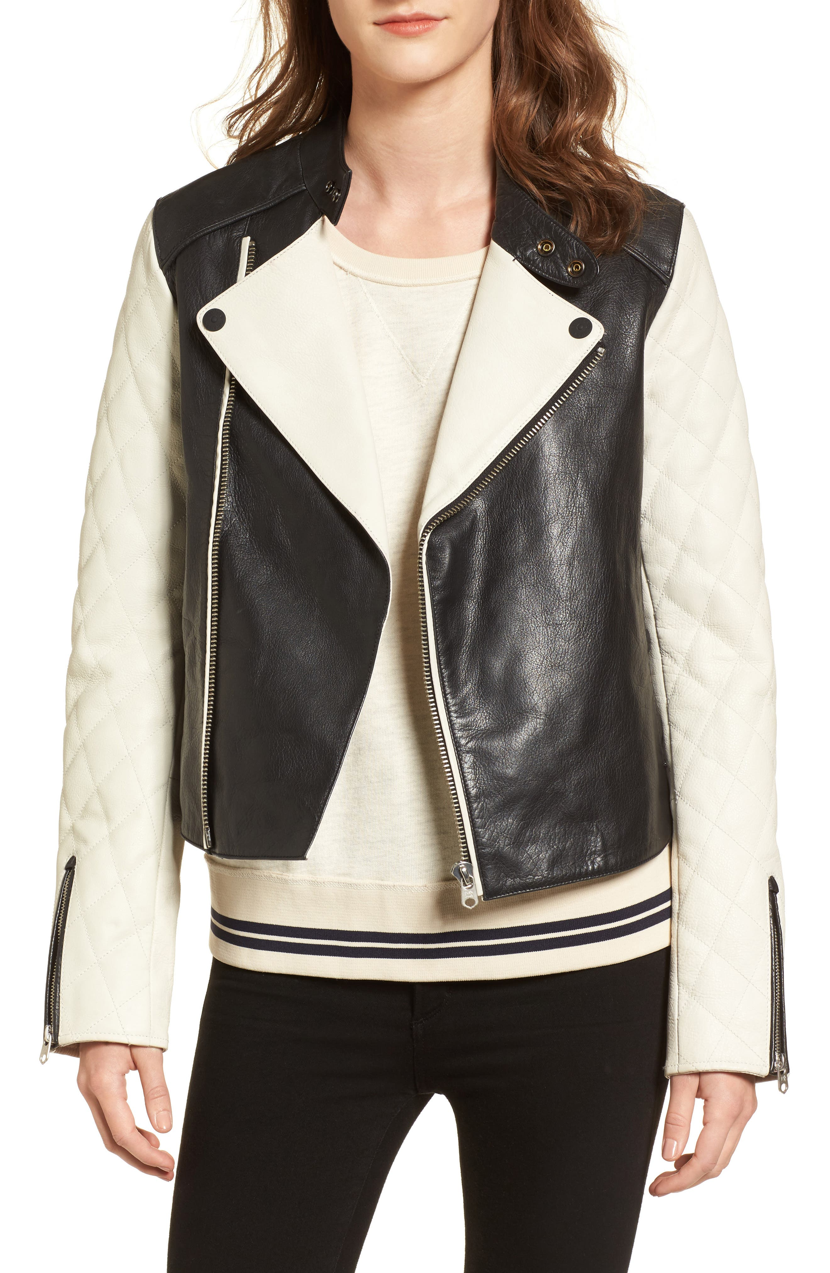 Quilted Sleeve Leather Biker Jacket,                             Main thumbnail 1, color,                             Black / Off White