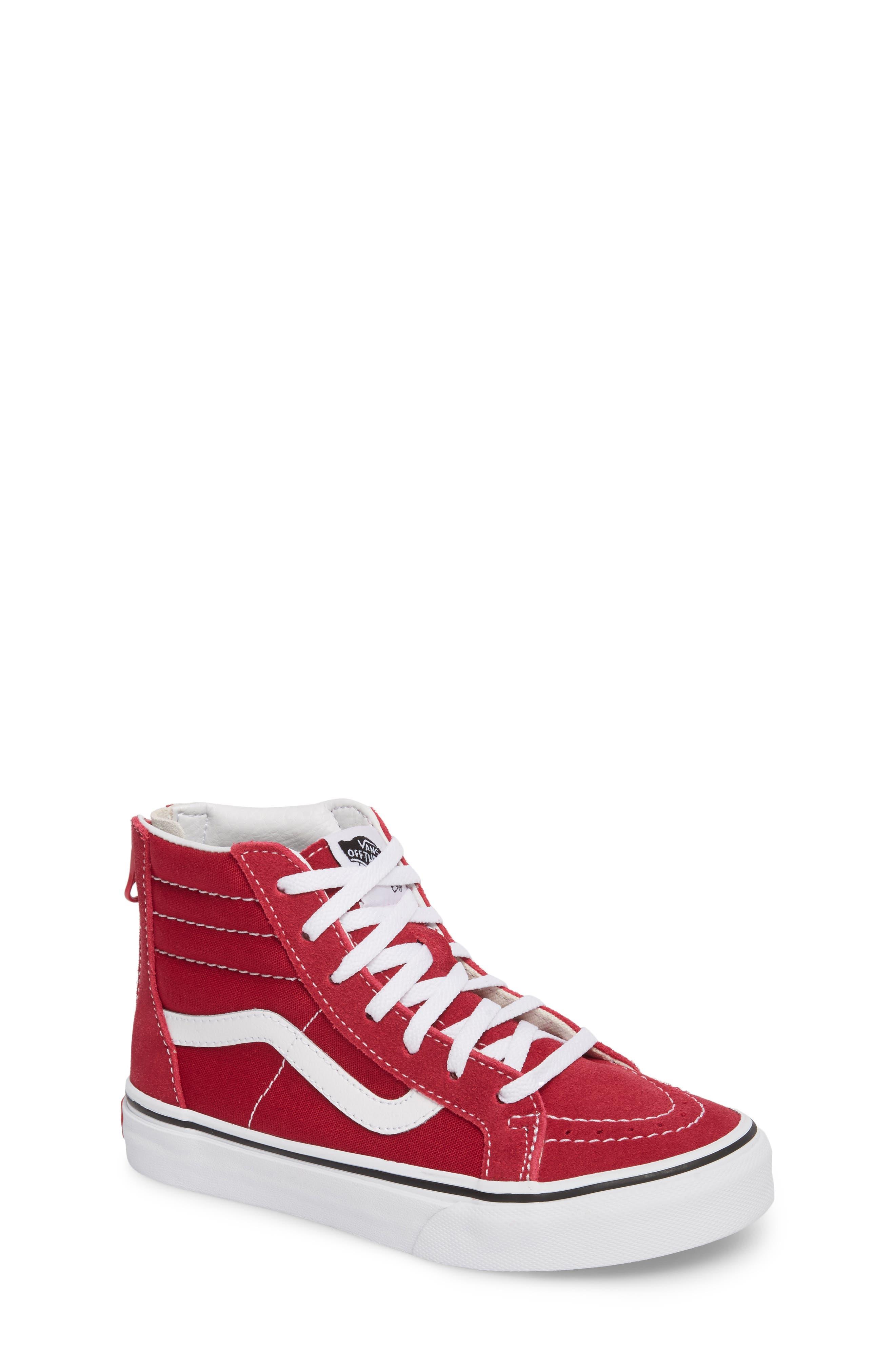 'Sk8-Hi' Zip Sneaker,                             Main thumbnail 1, color,                             Persian Red/ True White