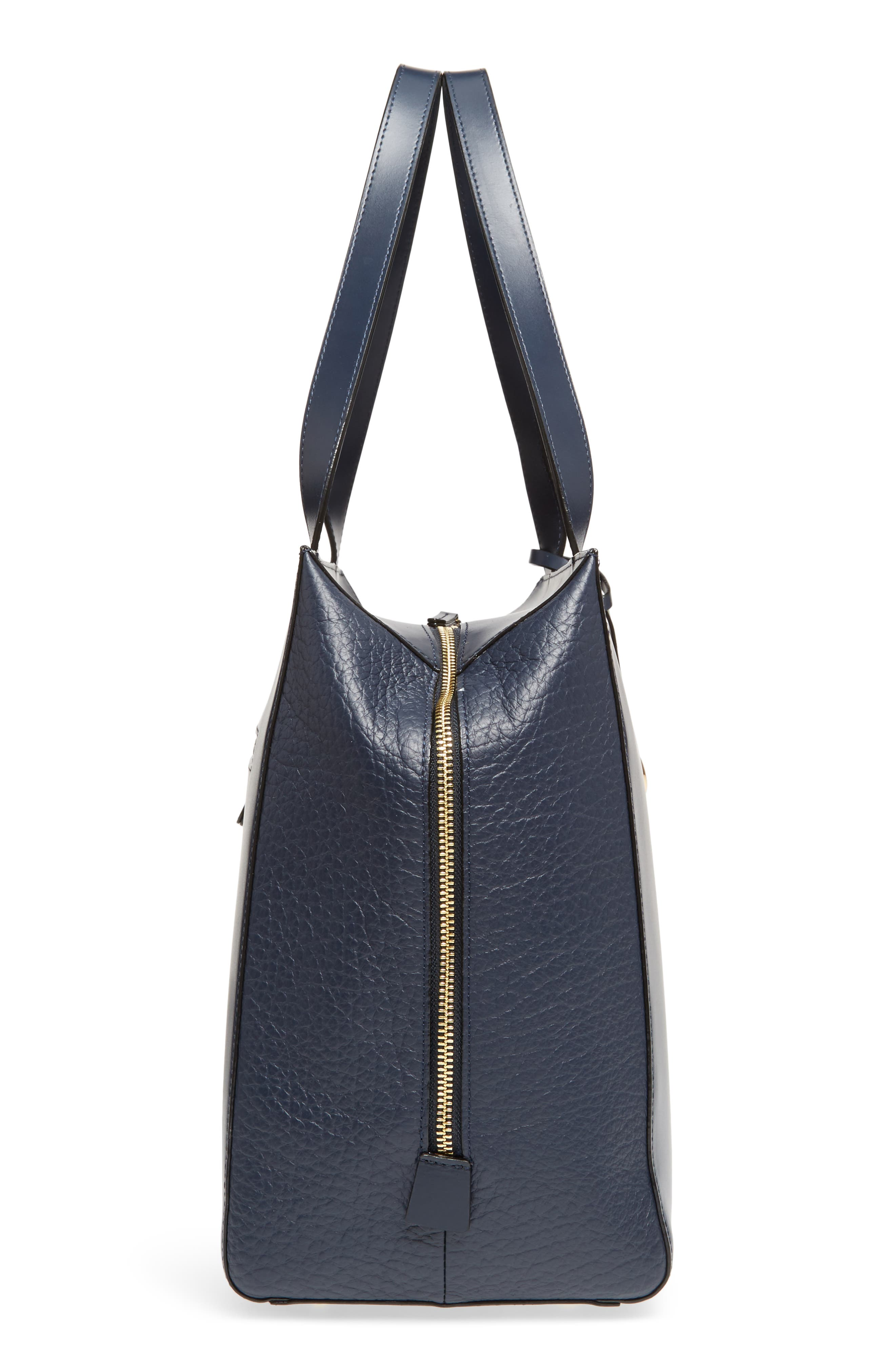 In the Mix Doris RFID Leather Work Tote,                             Alternate thumbnail 5, color,                             Navy