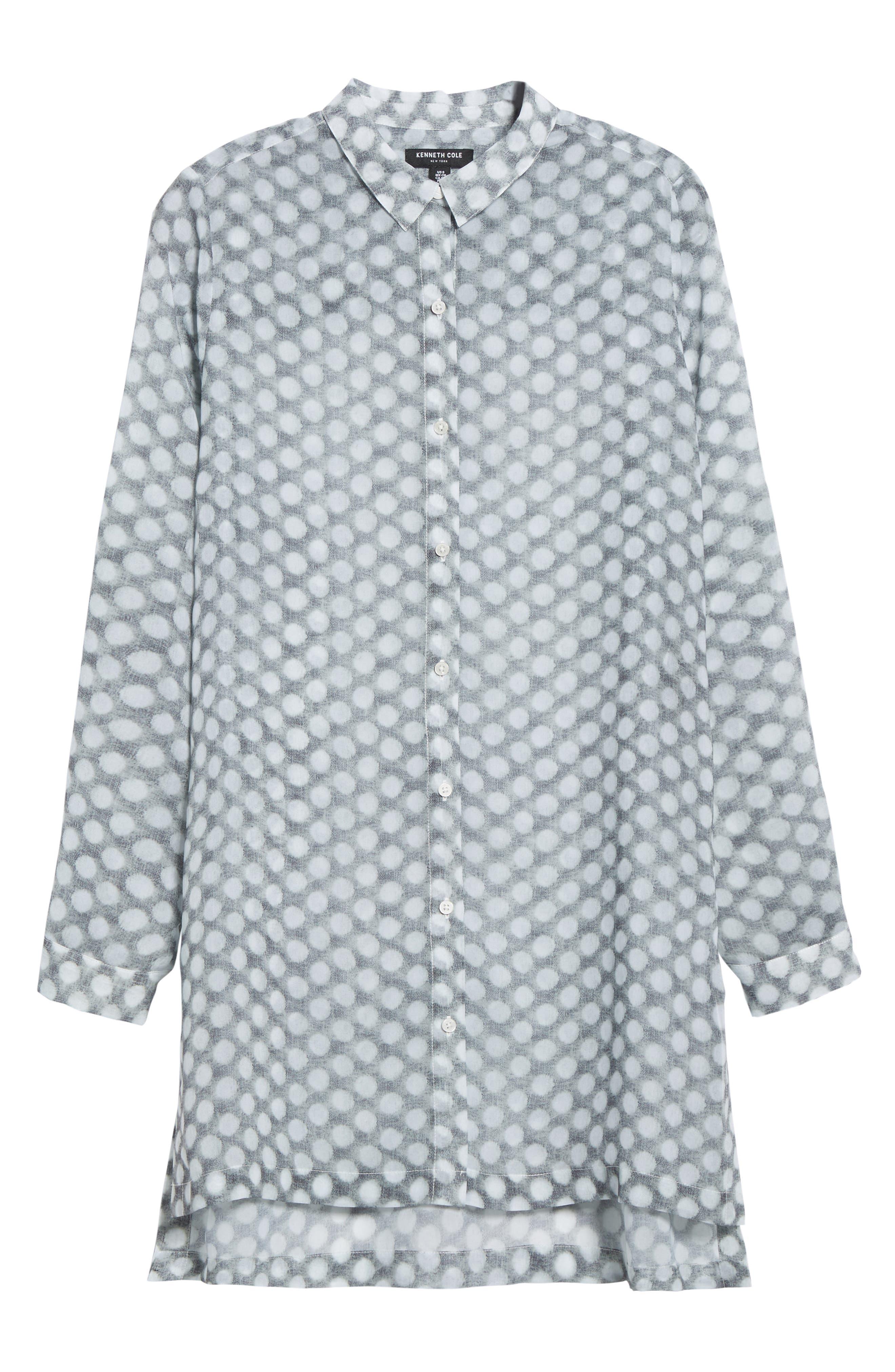 Button Tab Tunic Shirt,                             Alternate thumbnail 6, color,                             Frosty Dot