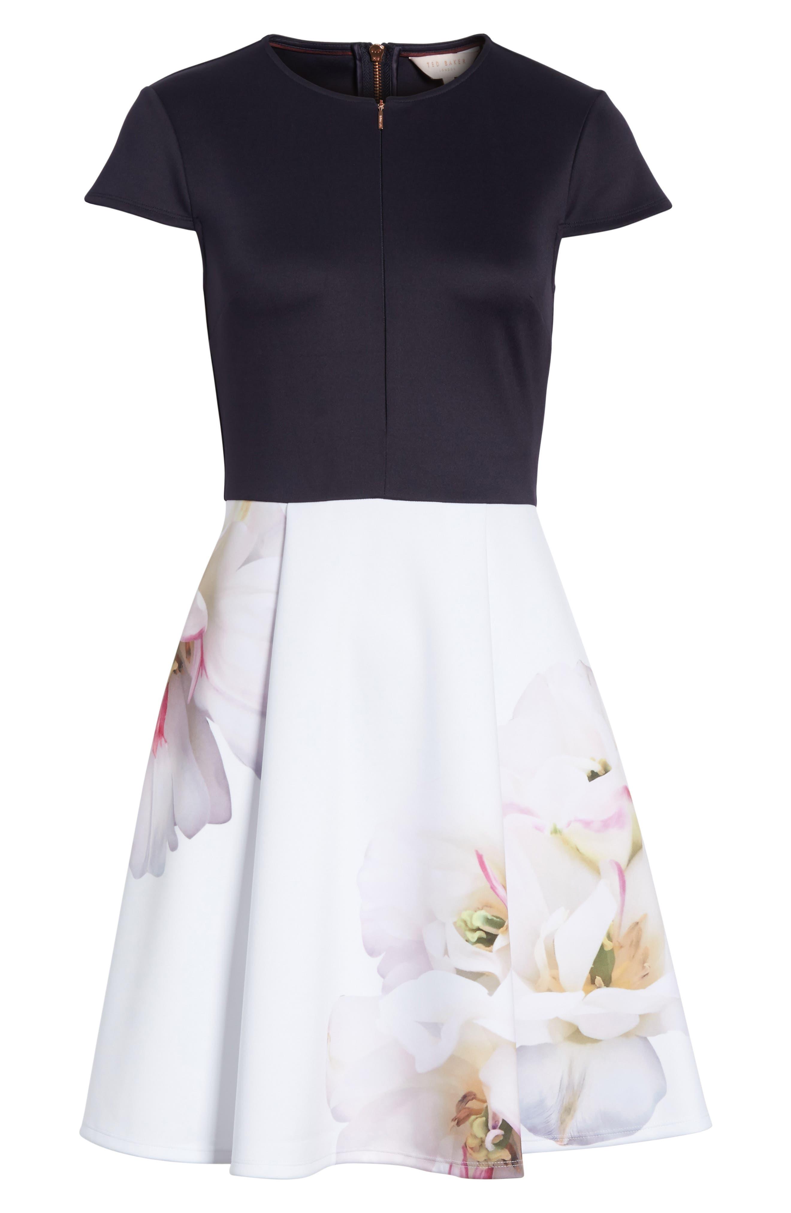 Gardenia Skater Dress,                             Alternate thumbnail 6, color,                             Dark Blue