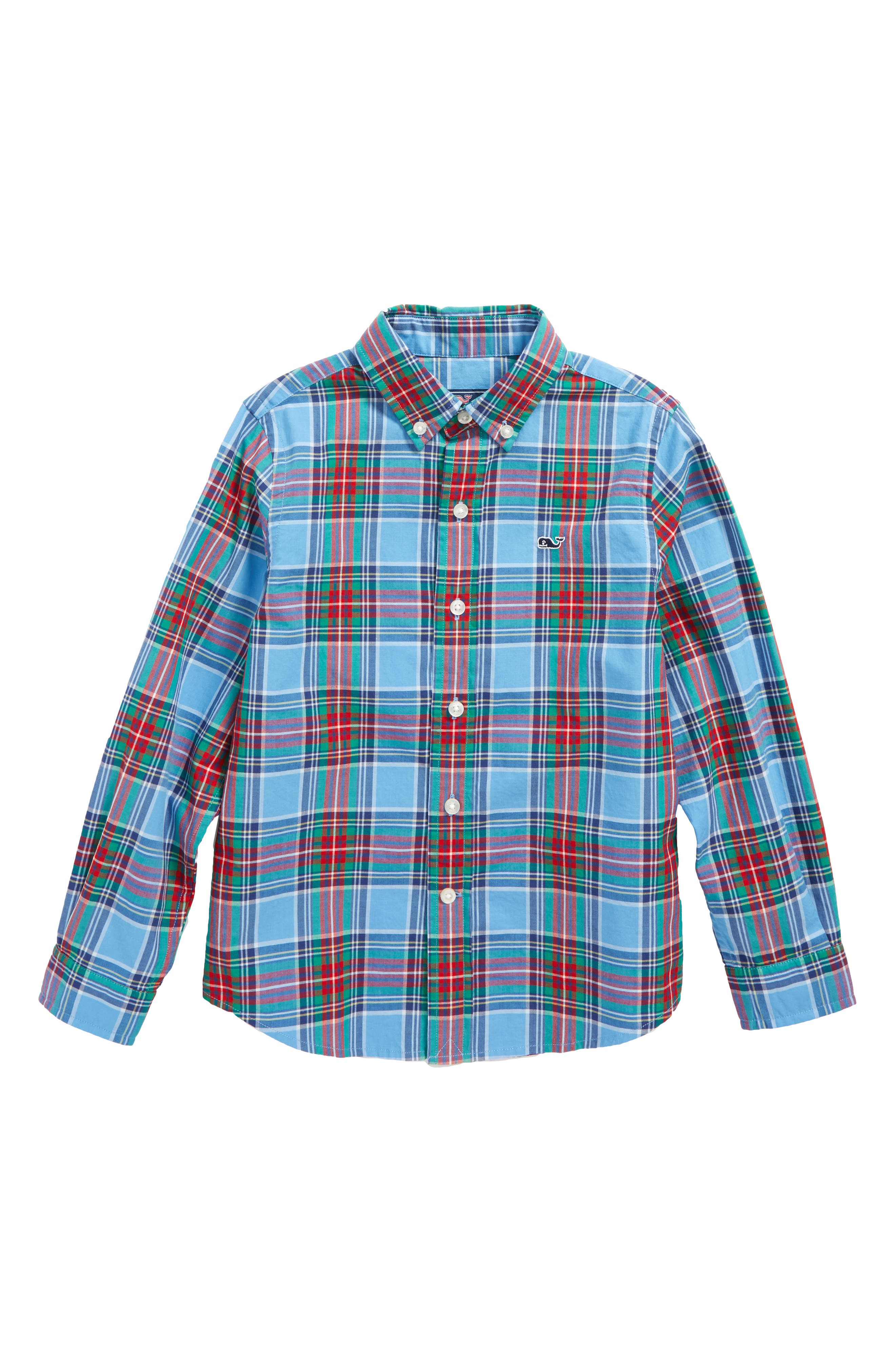 Belmont Plaid Whale Shirt,                             Main thumbnail 1, color,                             Dockside Blue