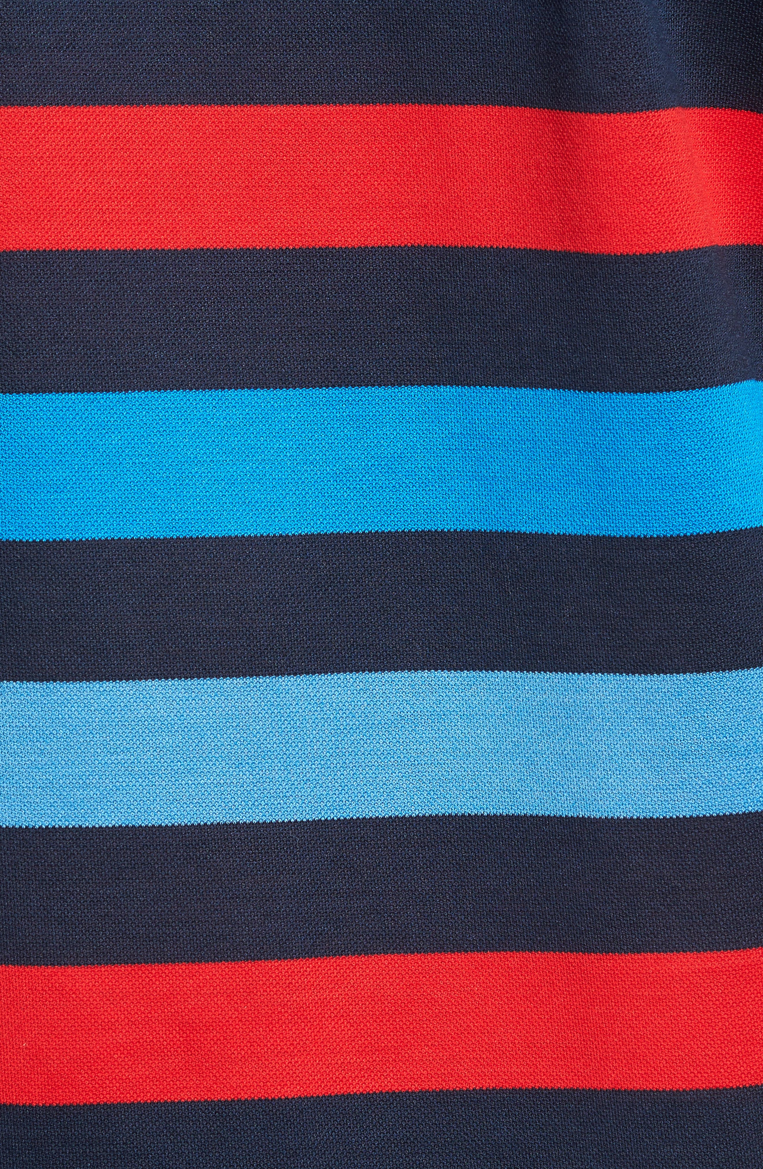 Stripe Tipped Polo,                             Alternate thumbnail 5, color,                             Blue/ Red/ Navy