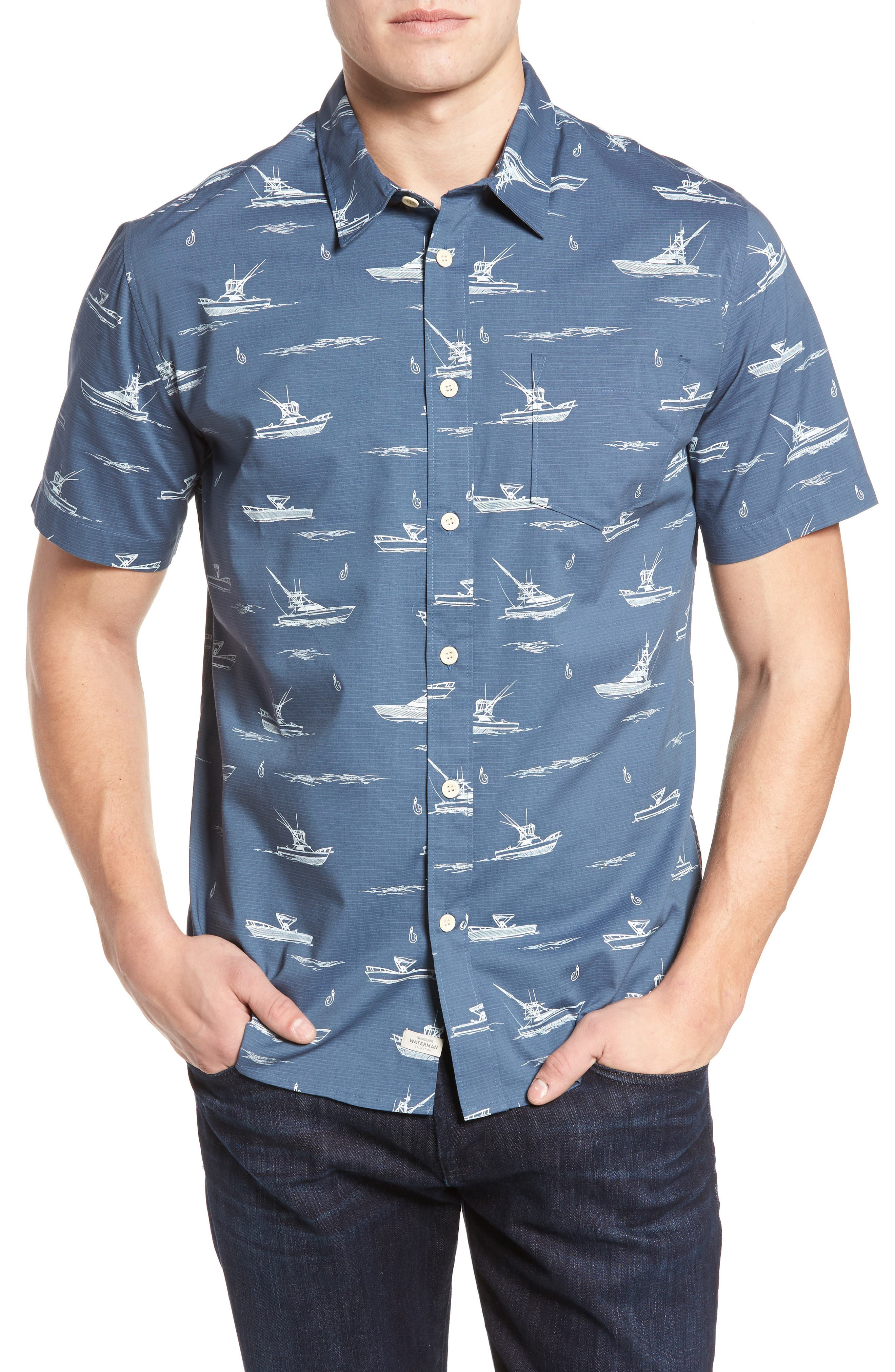Quiksilver Waterman Collection Fishboats Sport Shirt