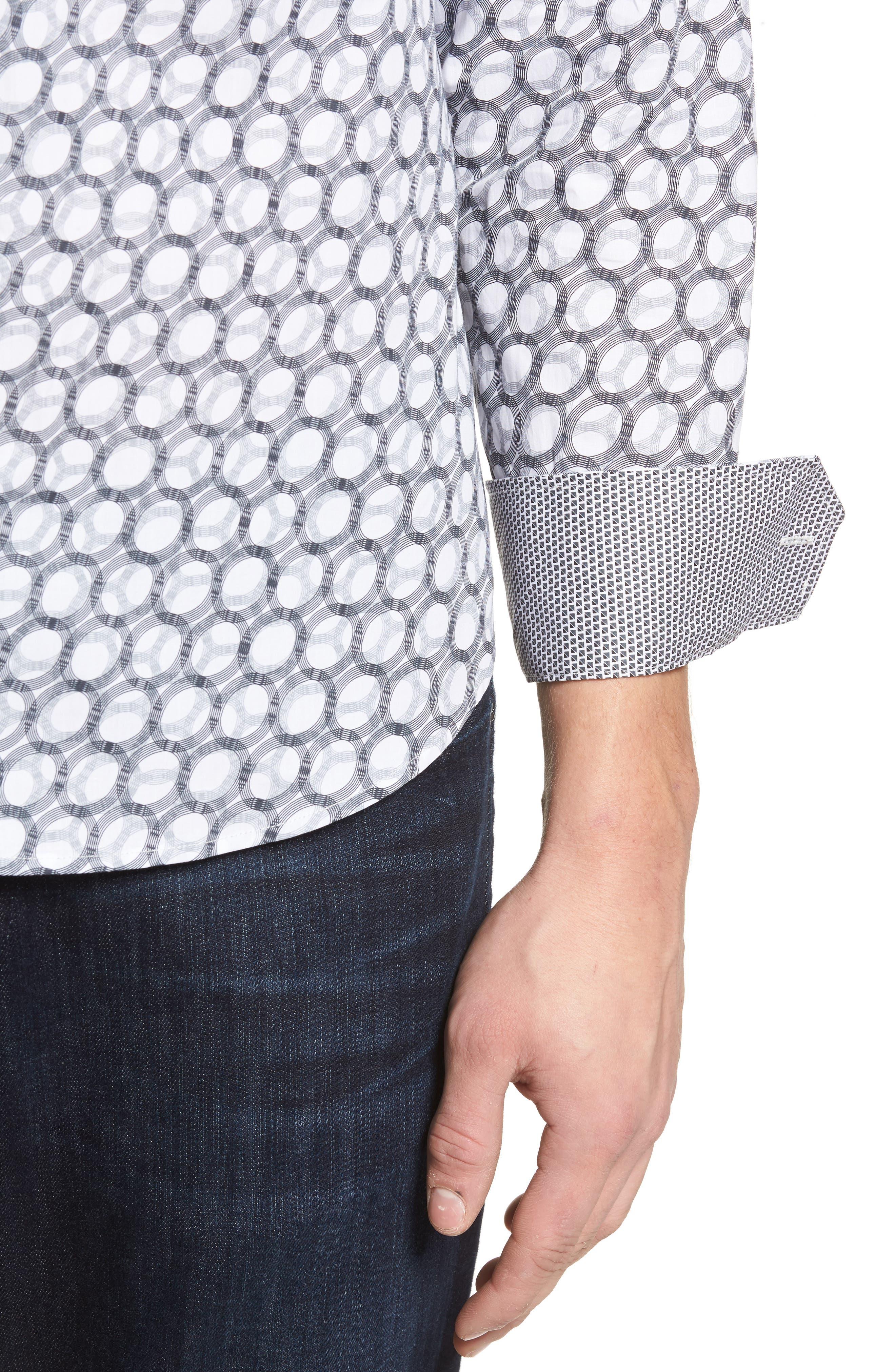 Shaped Fit Optic Print Sport Shirt,                             Alternate thumbnail 4, color,                             White