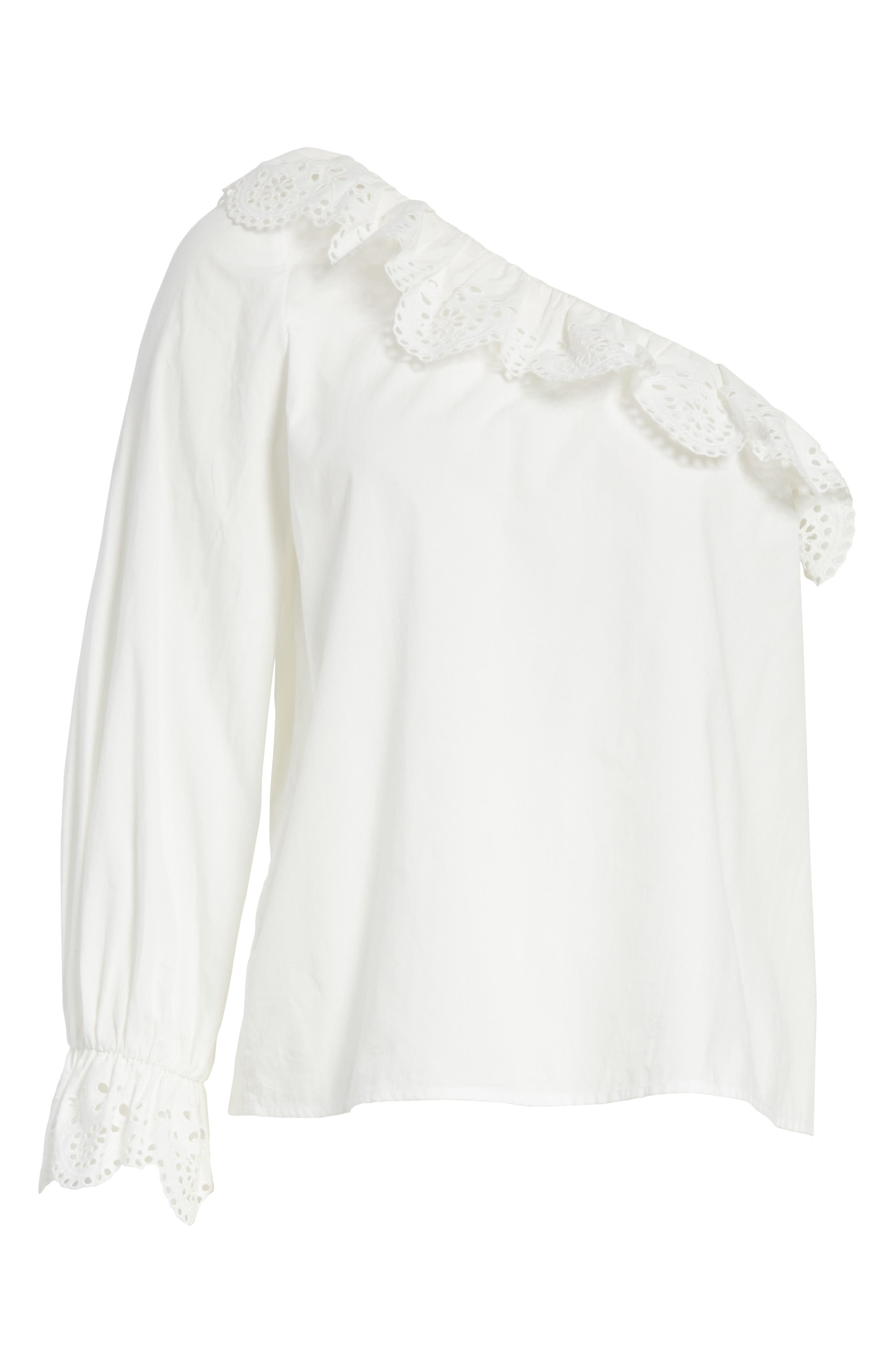 Arianthe One-Shoulder Eyelet Top,                             Alternate thumbnail 6, color,                             Clean White
