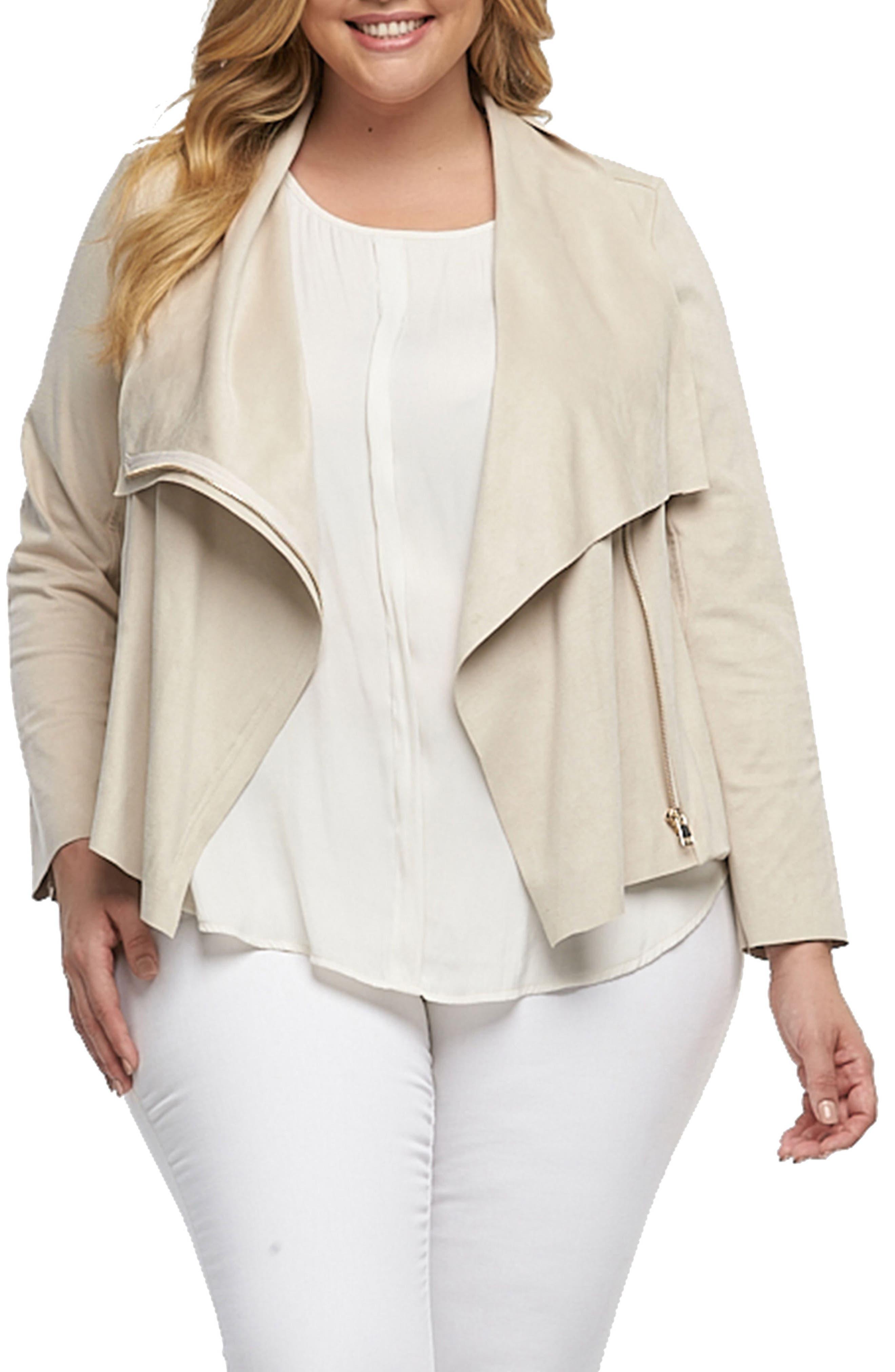 Main Image - Tart Sayna Drape Front Asymmetrical Jacket (Plus Size)