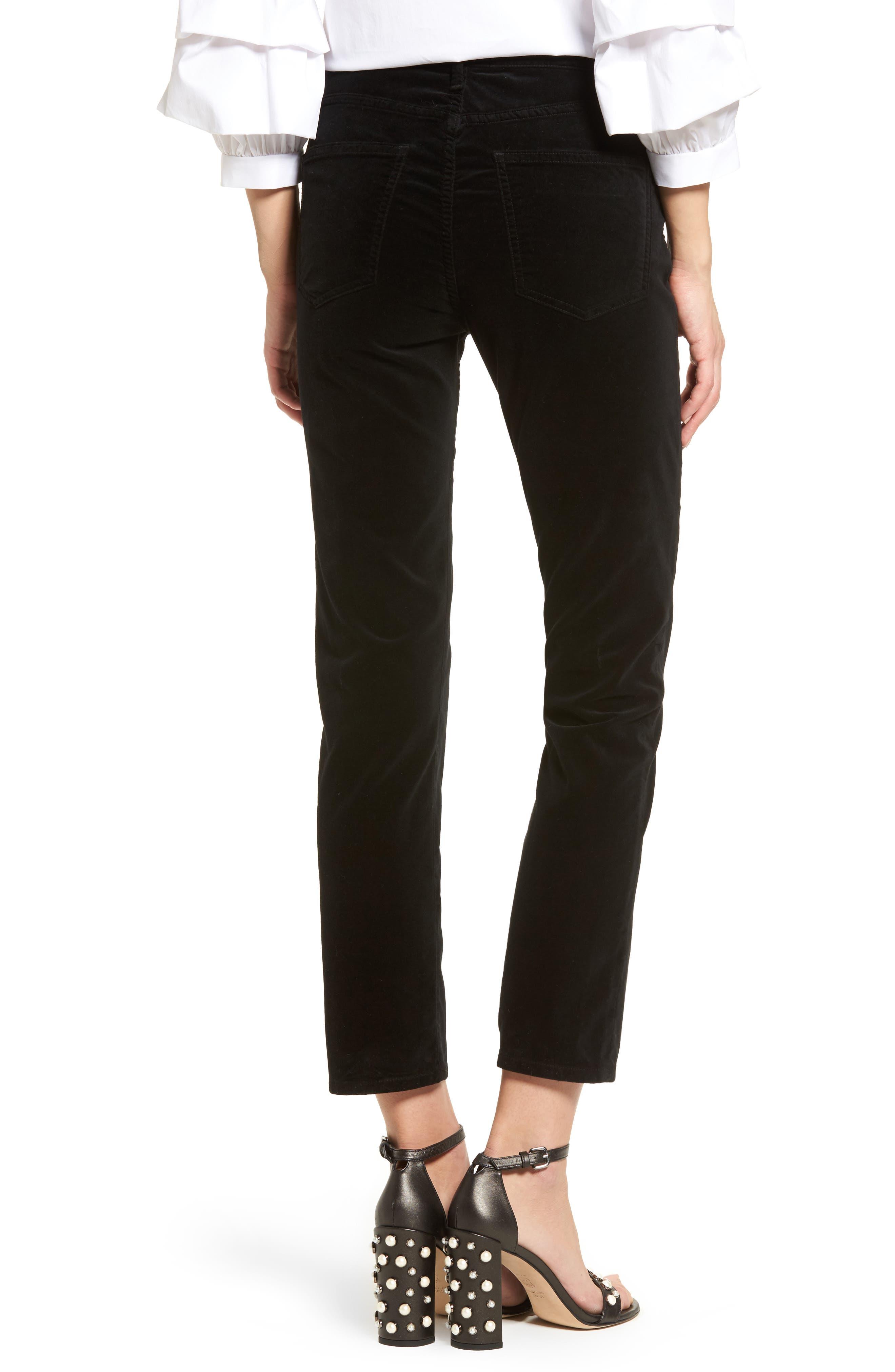 Cara High Waist Ankle Cigarette Velvet Pants,                             Alternate thumbnail 2, color,                             Black Currant Velvet
