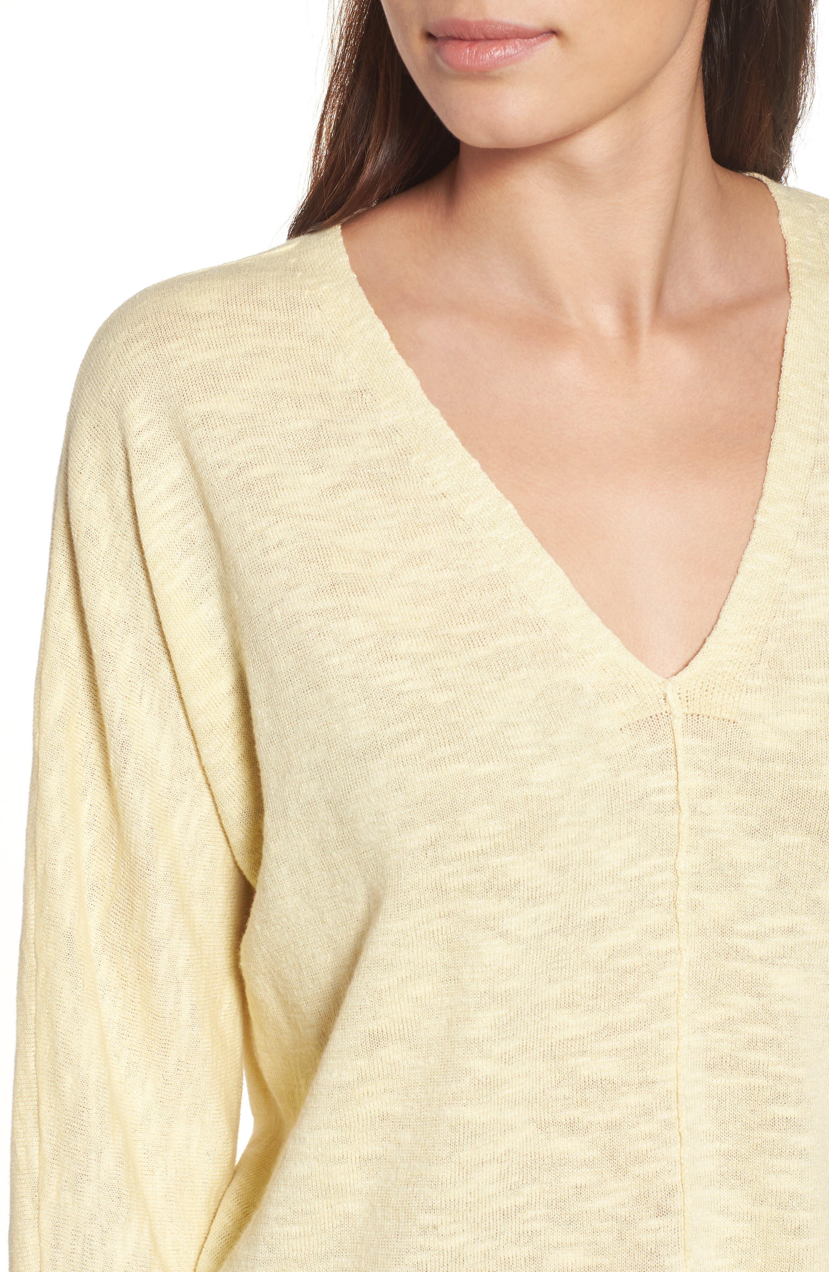 Organic Linen & Cotton Sweater,                             Alternate thumbnail 4, color,                             Flaxen
