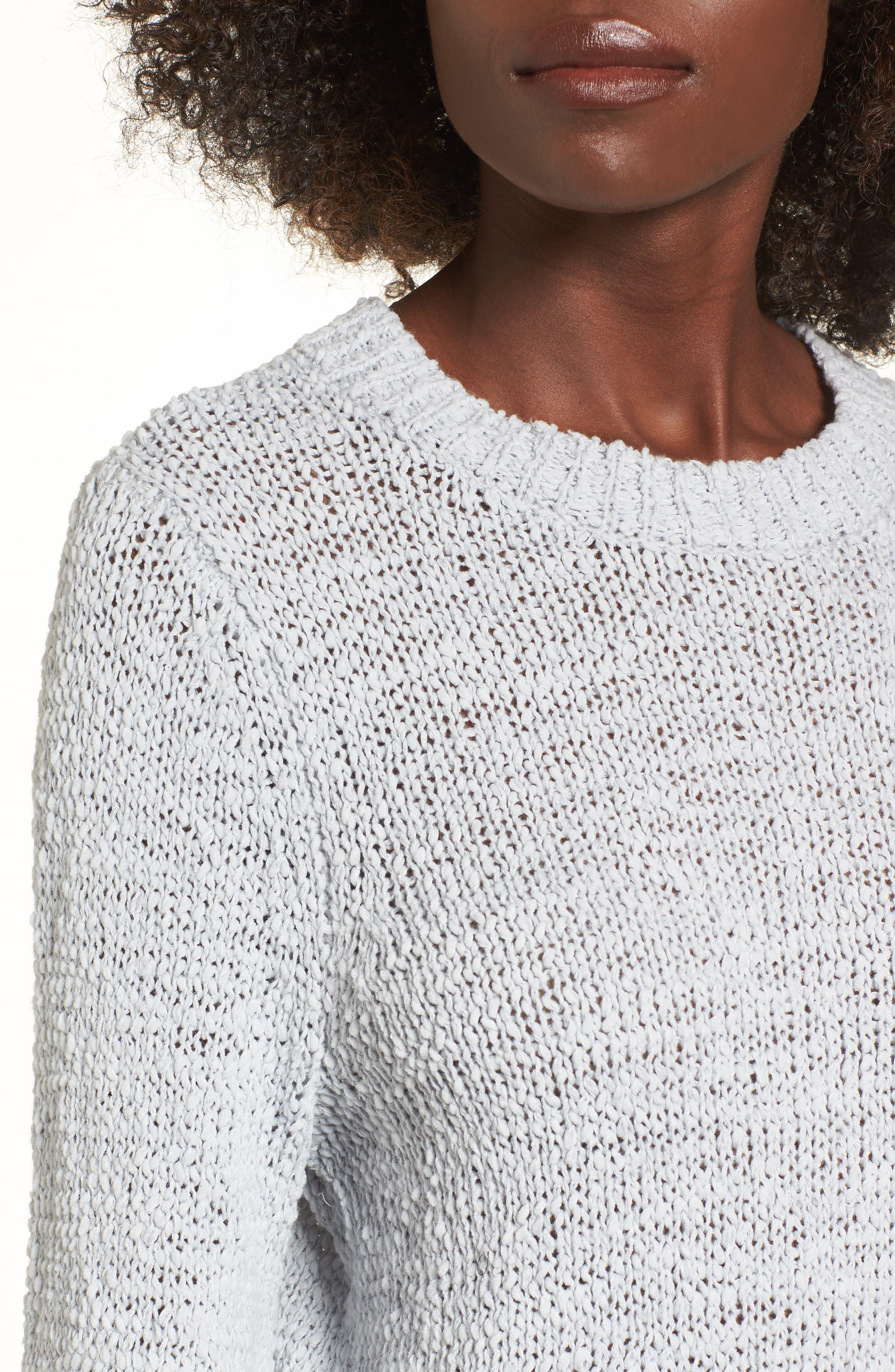 Blouson Sleeve Tape Yarn Sweater,                             Alternate thumbnail 4, color,                             Blue Pearl