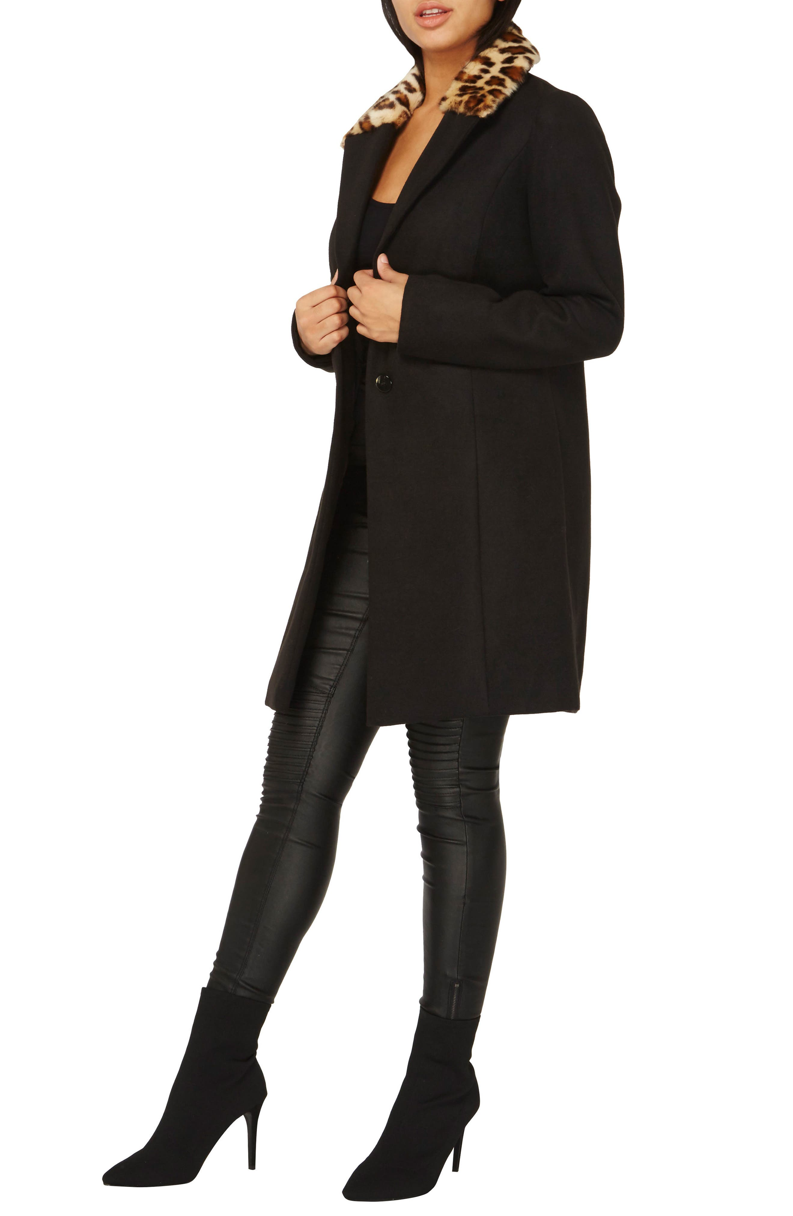 Alternate Image 2  - Dorothy Perkins Coat with Faux Fur Collar
