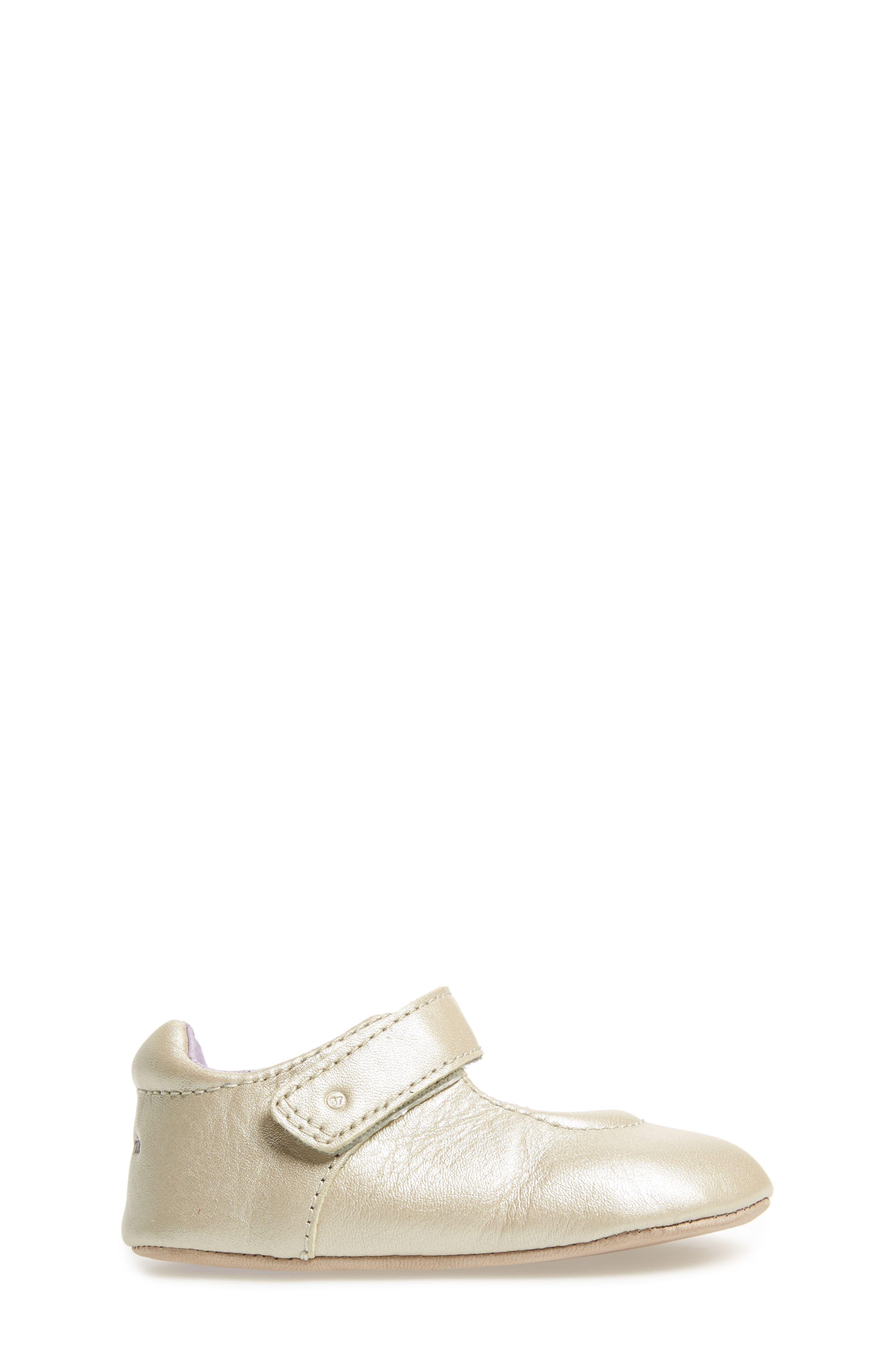 Liza Mary Jane Crib Shoe,                             Alternate thumbnail 3, color,                             Champagne Leather