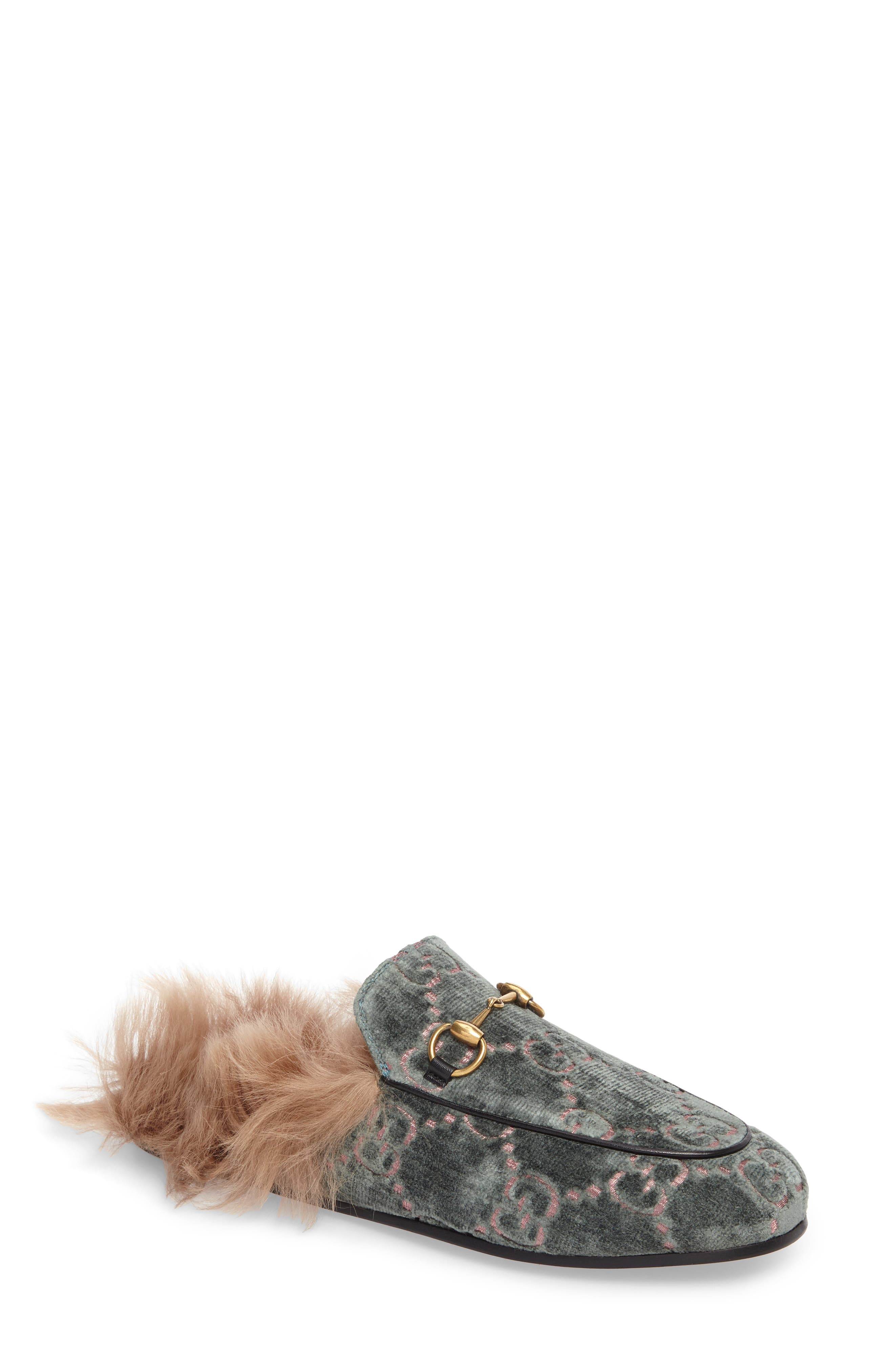 Gucci Princetown Genuine Shearling Lining Logo Mule (Women)