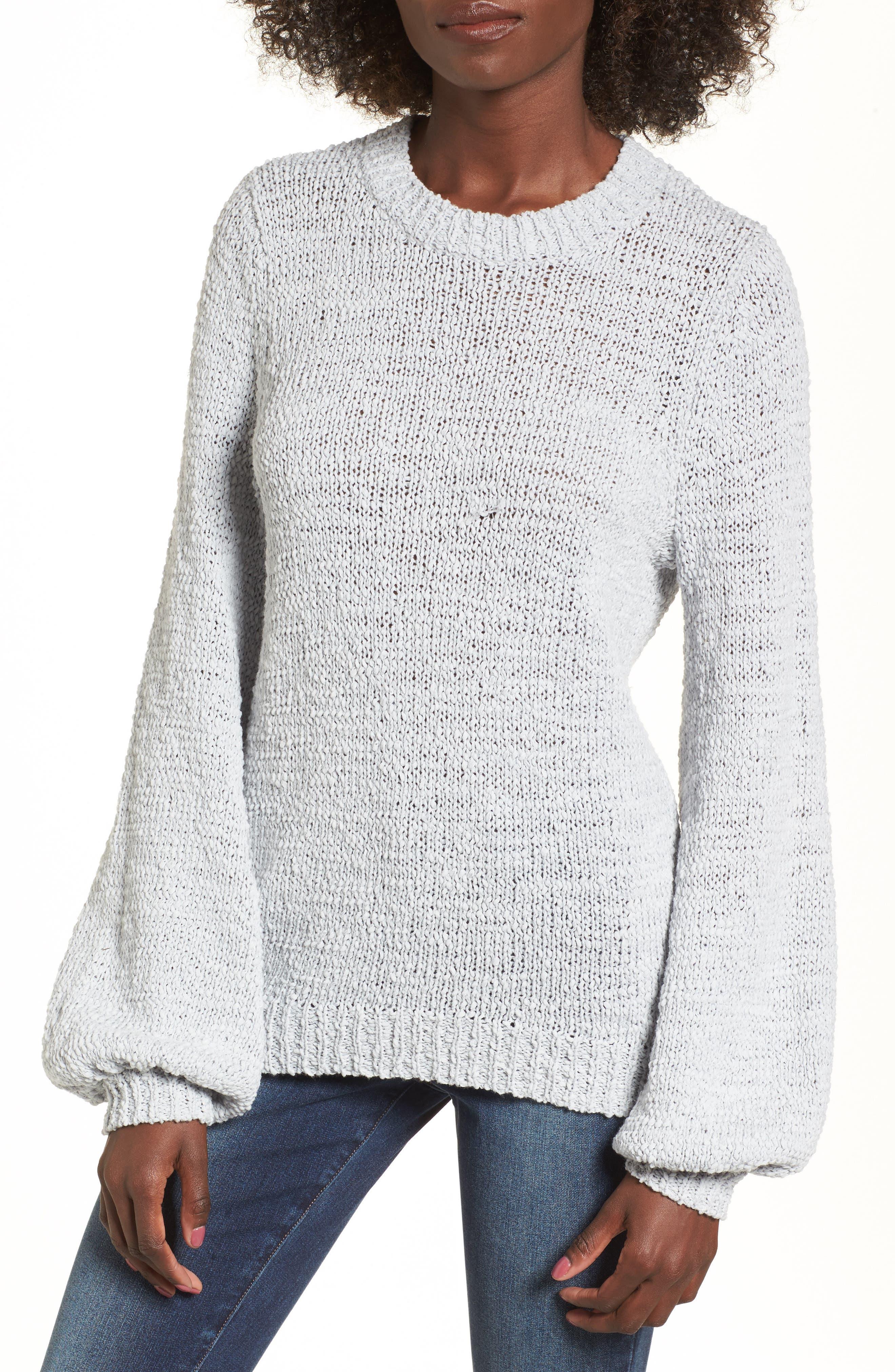 Blouson Sleeve Tape Yarn Sweater,                             Main thumbnail 1, color,                             Blue Pearl