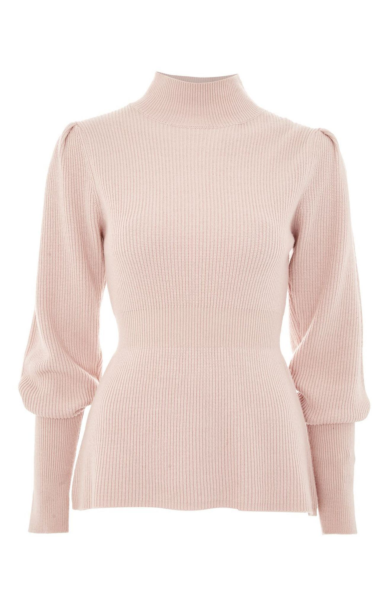 Puff Sleeve Funnel Neck Sweater,                             Alternate thumbnail 4, color,                             Blush