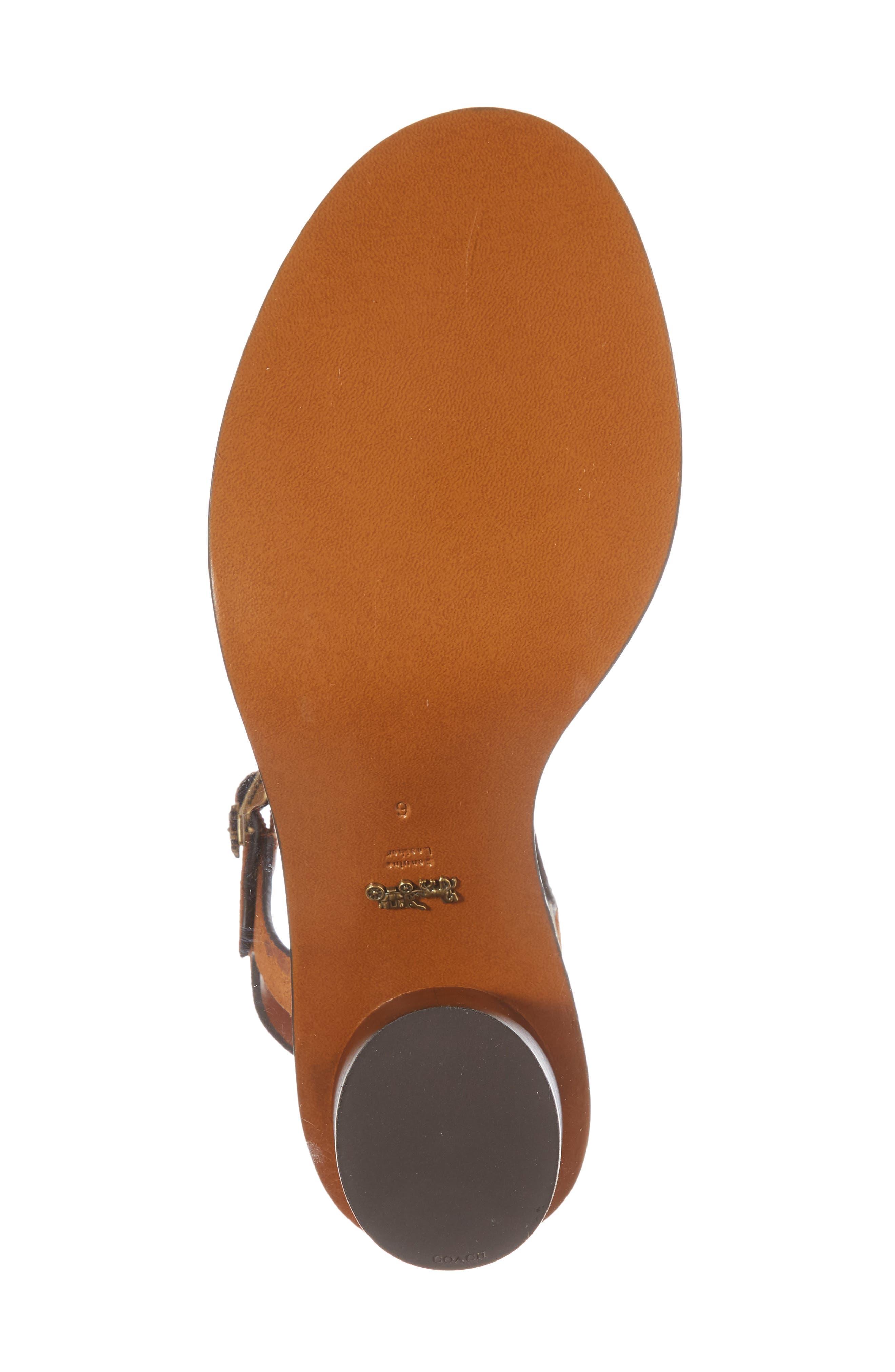 Column Heel Sandal,                             Alternate thumbnail 6, color,                             Saddle Suede