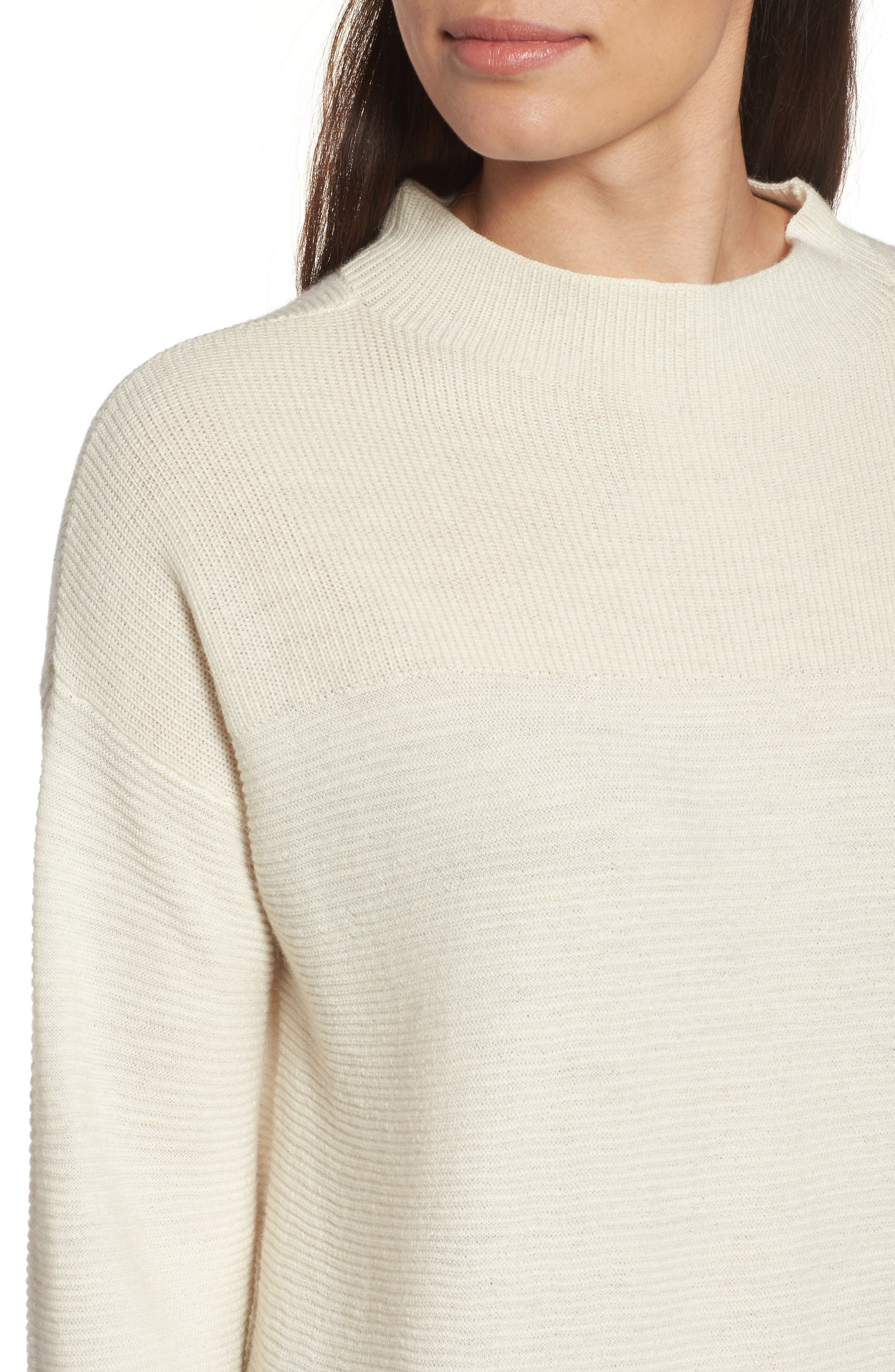 Ribbed Wool Blend Sweater,                             Alternate thumbnail 5, color,                             Soft White