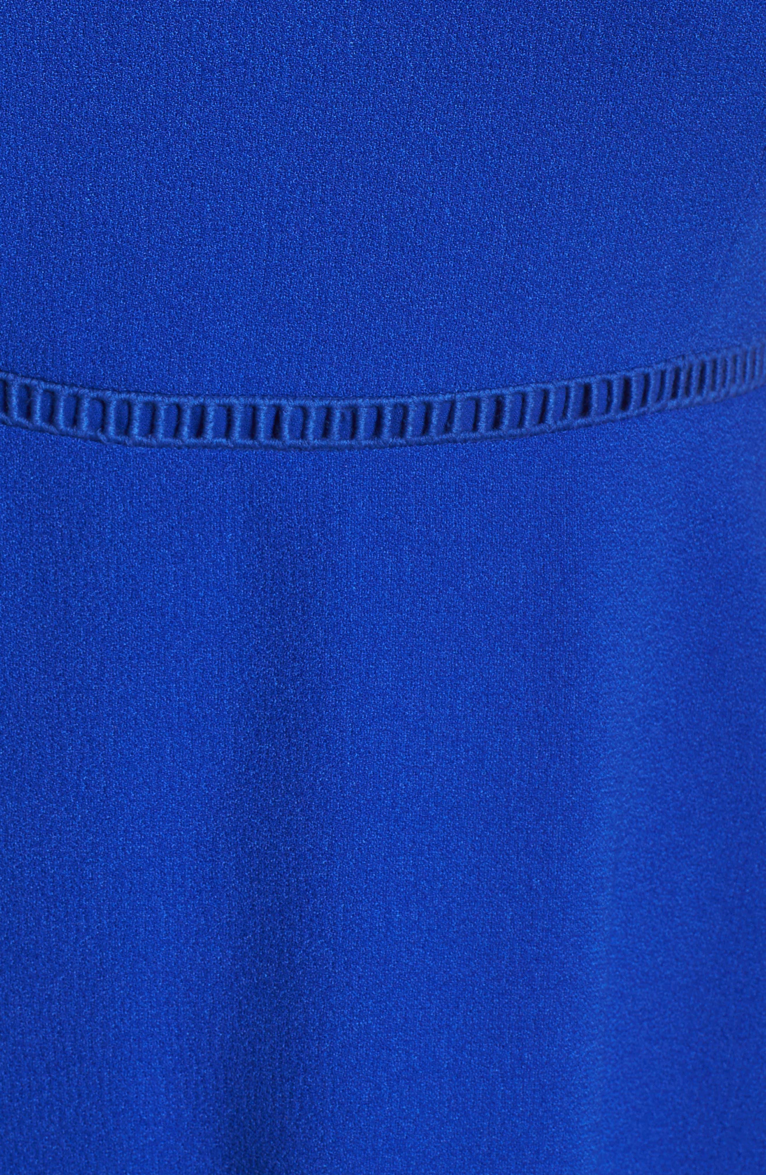 Lace Inset Fit & Flare Dress,                             Alternate thumbnail 5, color,                             Royal