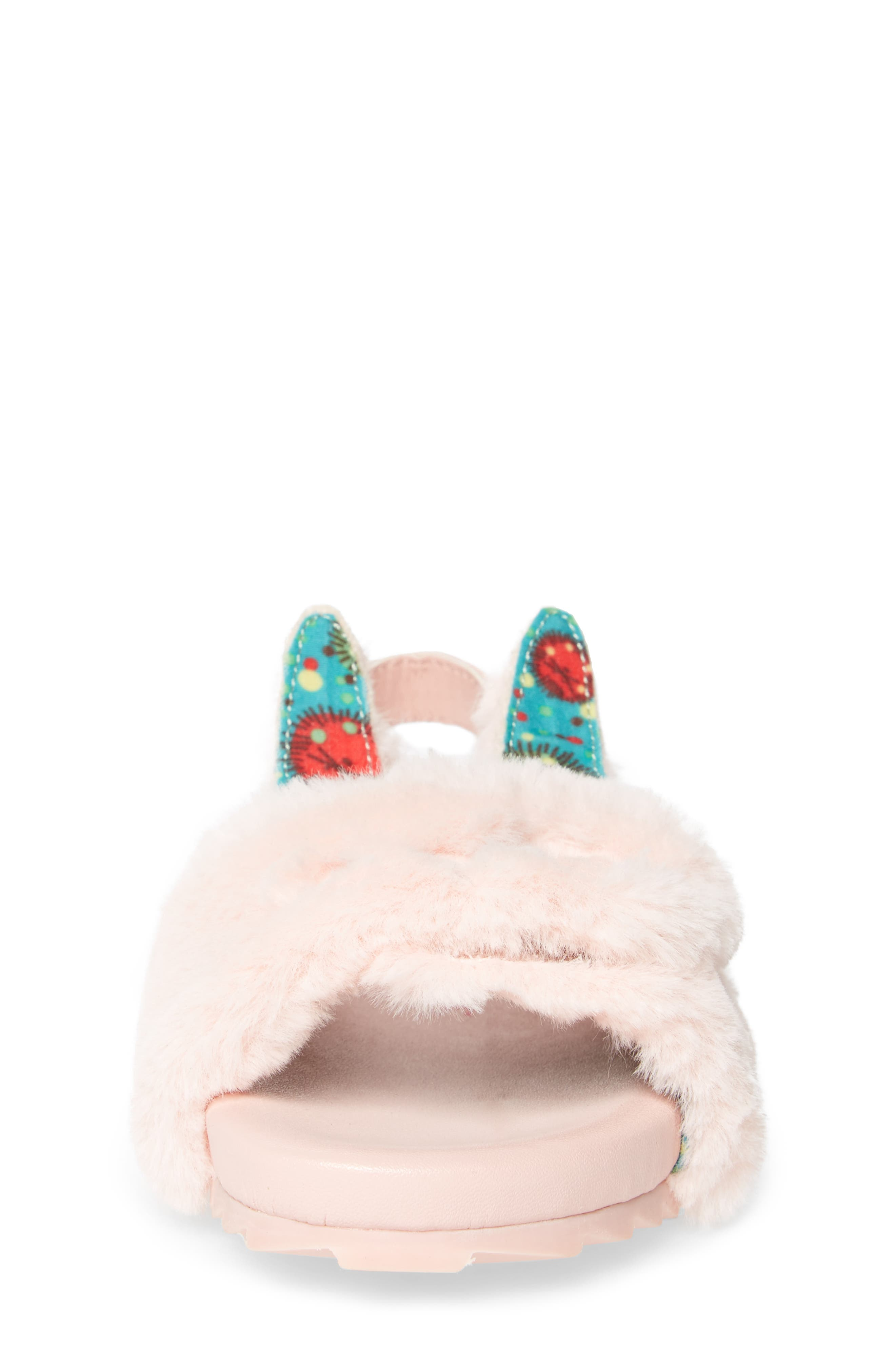 Alternate Image 5  - WellieWishers from American Girl Willa Carrot Faux Fur Strap Slide Sandal (Walker & Toddler)
