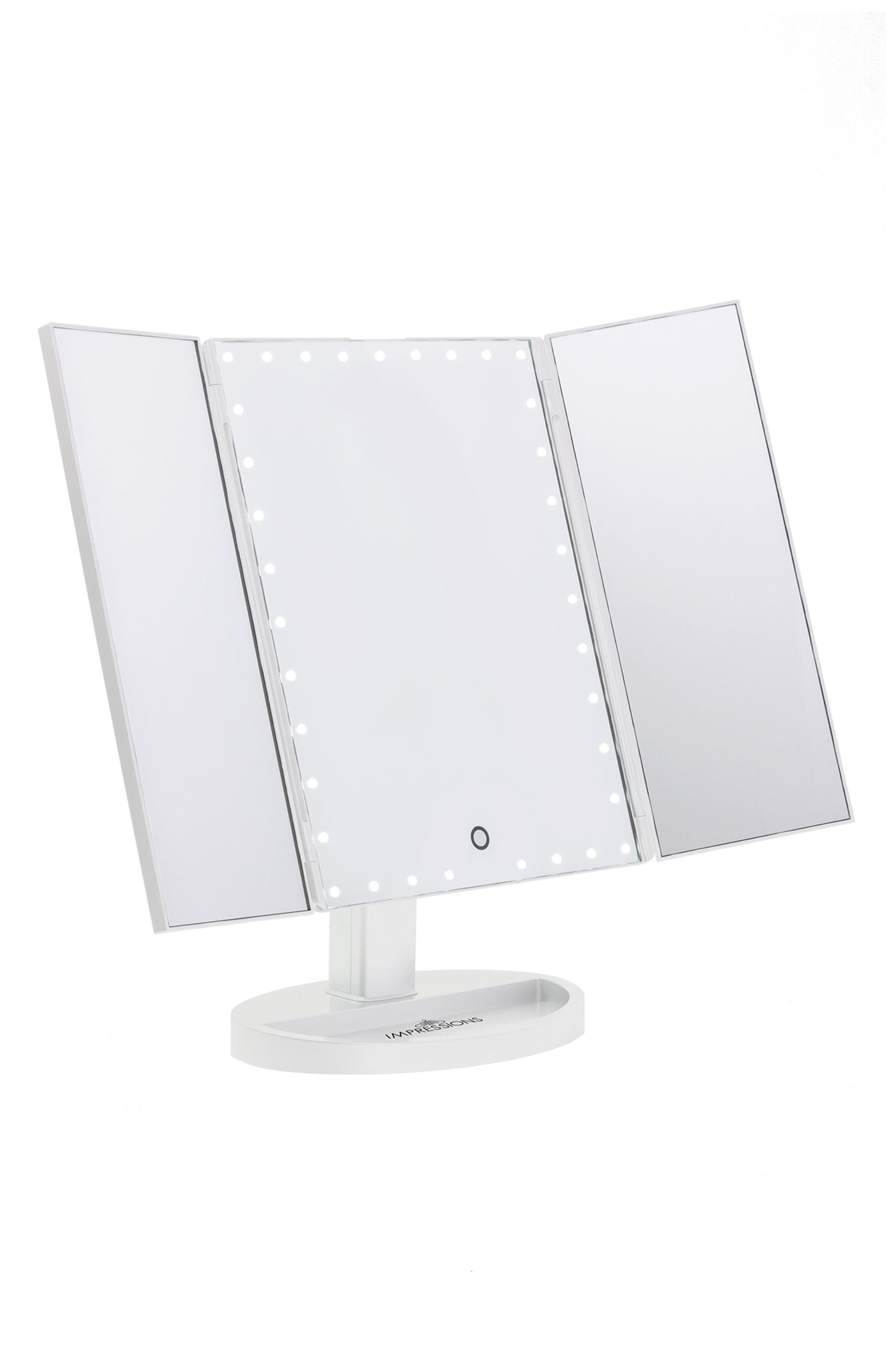 Alternate Image 2  - Impressions Vanity Co. Touch Trifold XL Dimmable LED Makeup Mirror