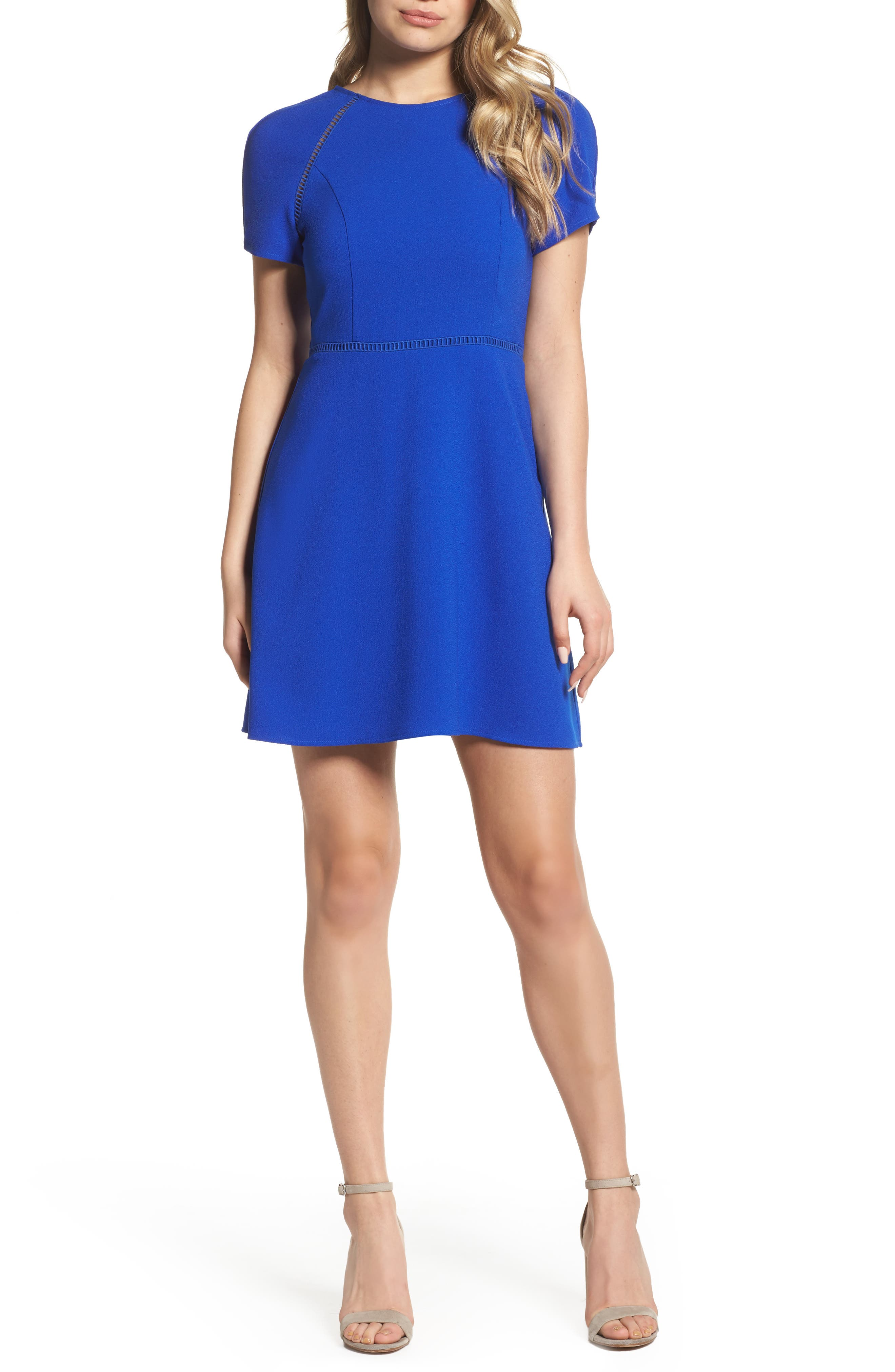 Lace Inset Fit & Flare Dress,                         Main,                         color, Royal