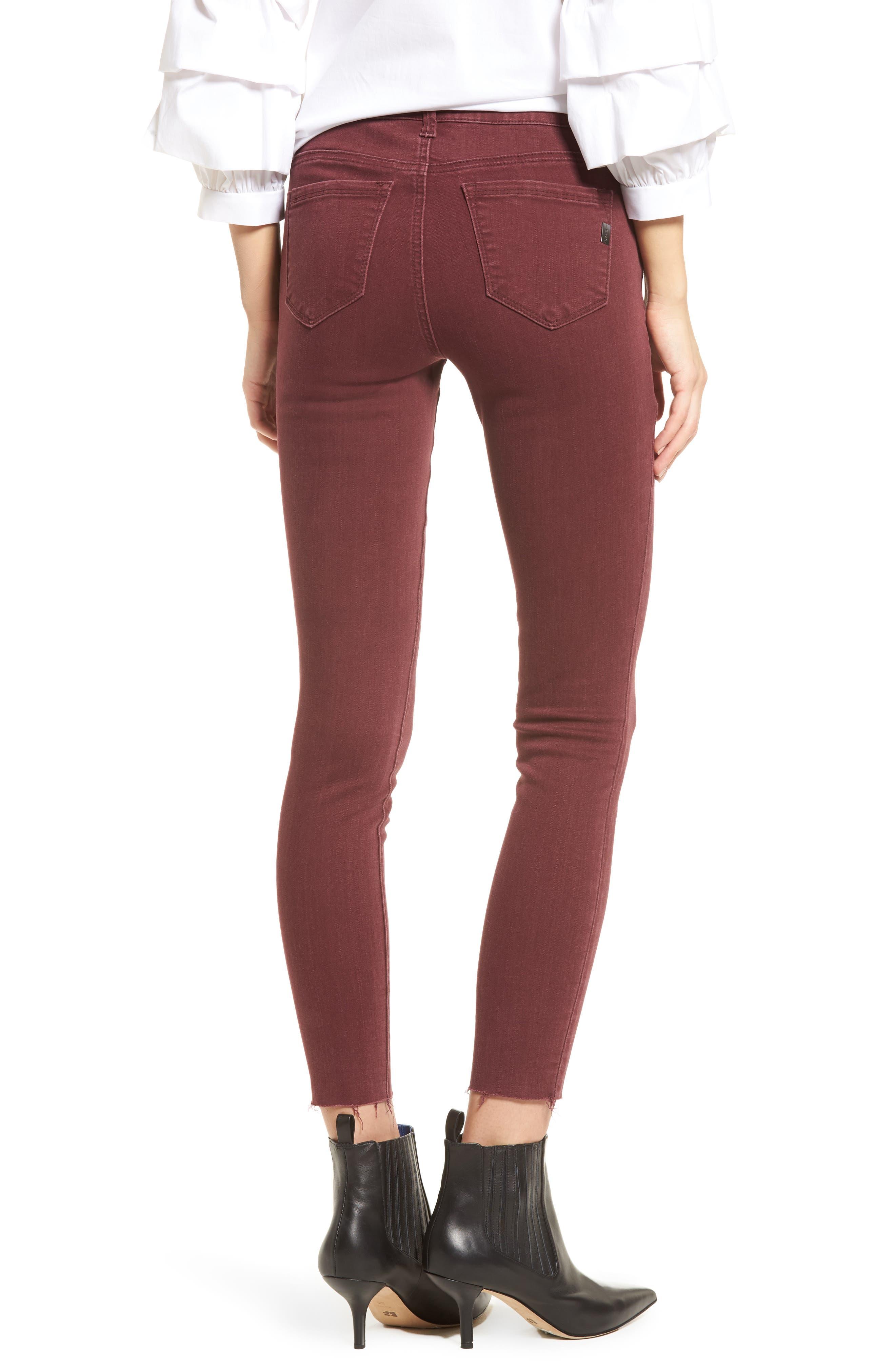Raw Hem Skinny Jeans,                             Alternate thumbnail 2, color,                             Rumba Red