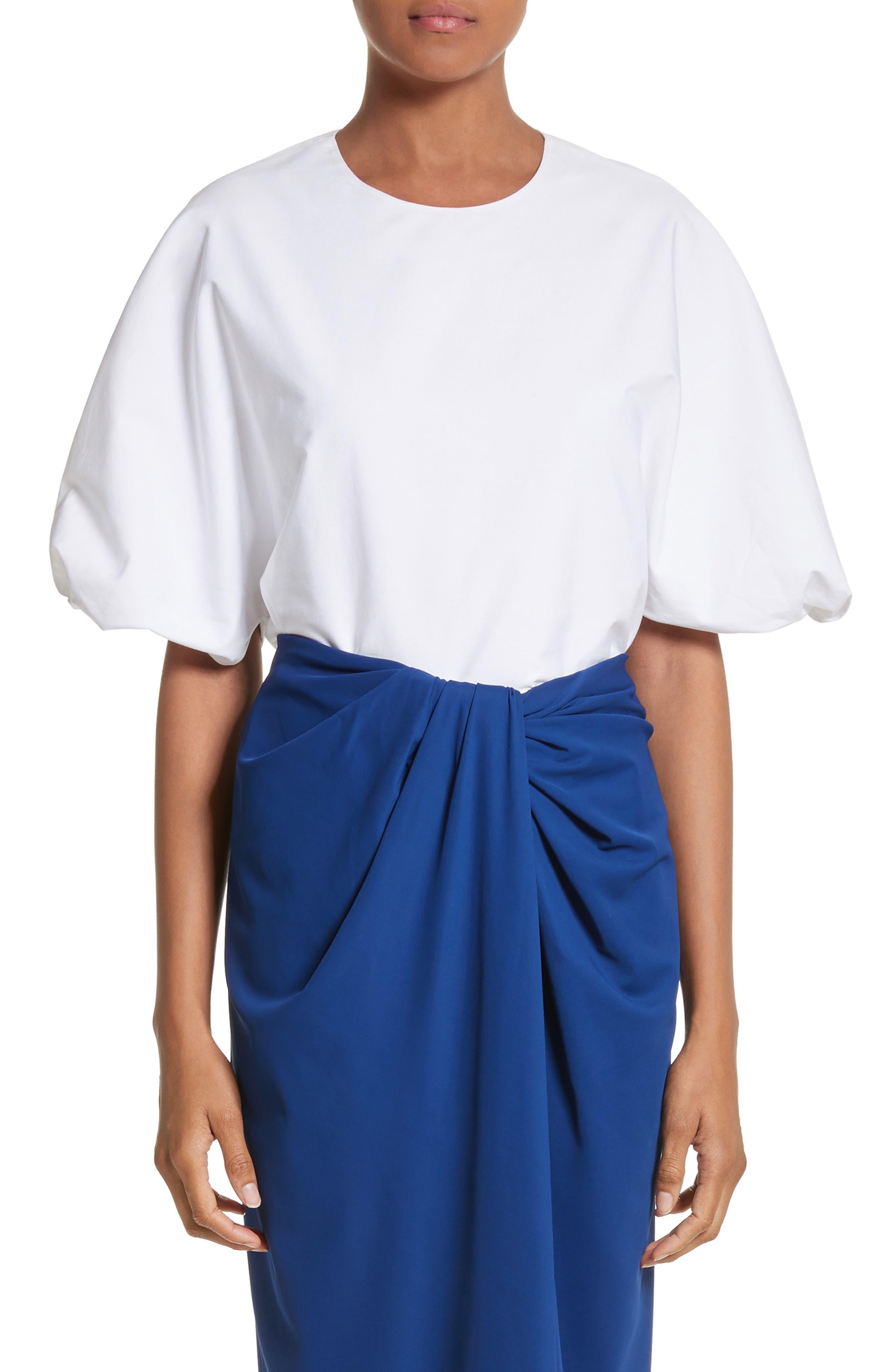 Twist Puff Sleeve Poplin Blouse,                         Main,                         color, White