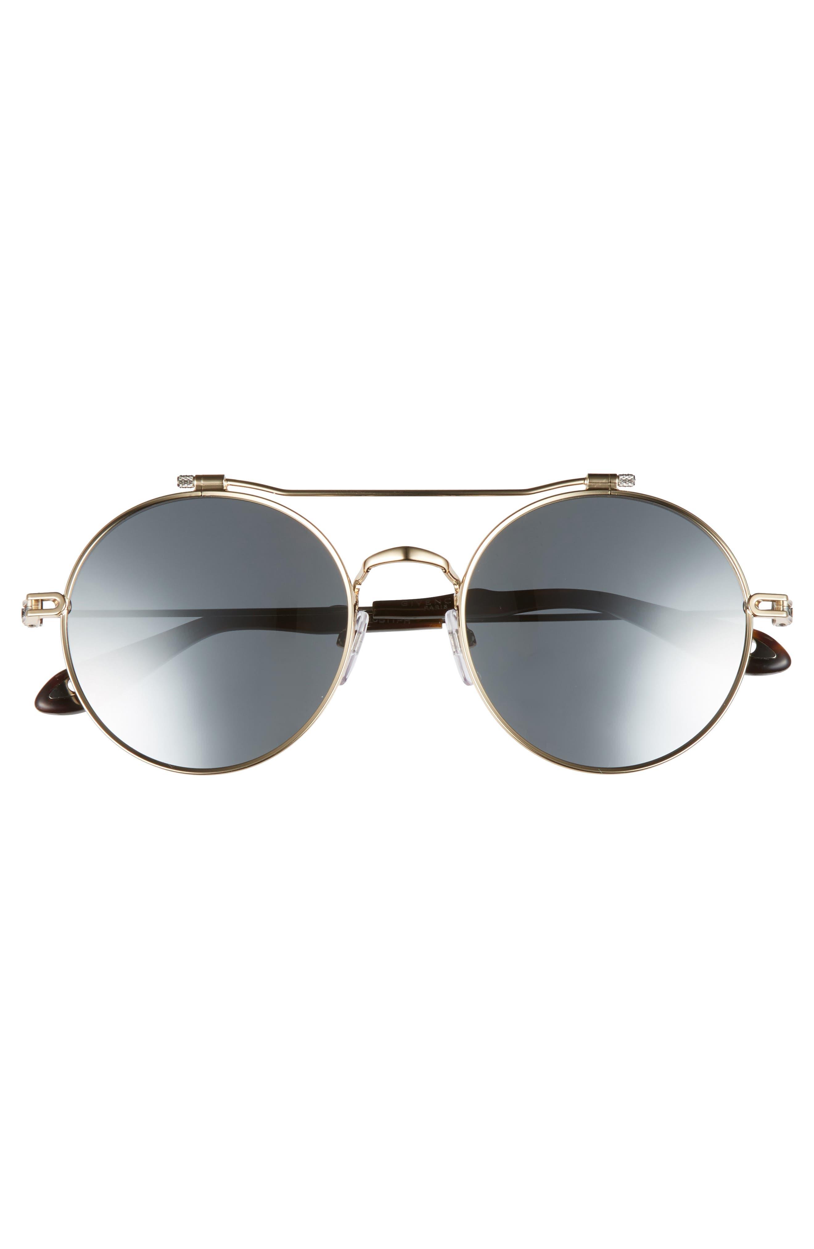 53mm Round Aviator Sunglasses,                             Alternate thumbnail 2, color,                             Gold Ruthenium/ Black Mirror