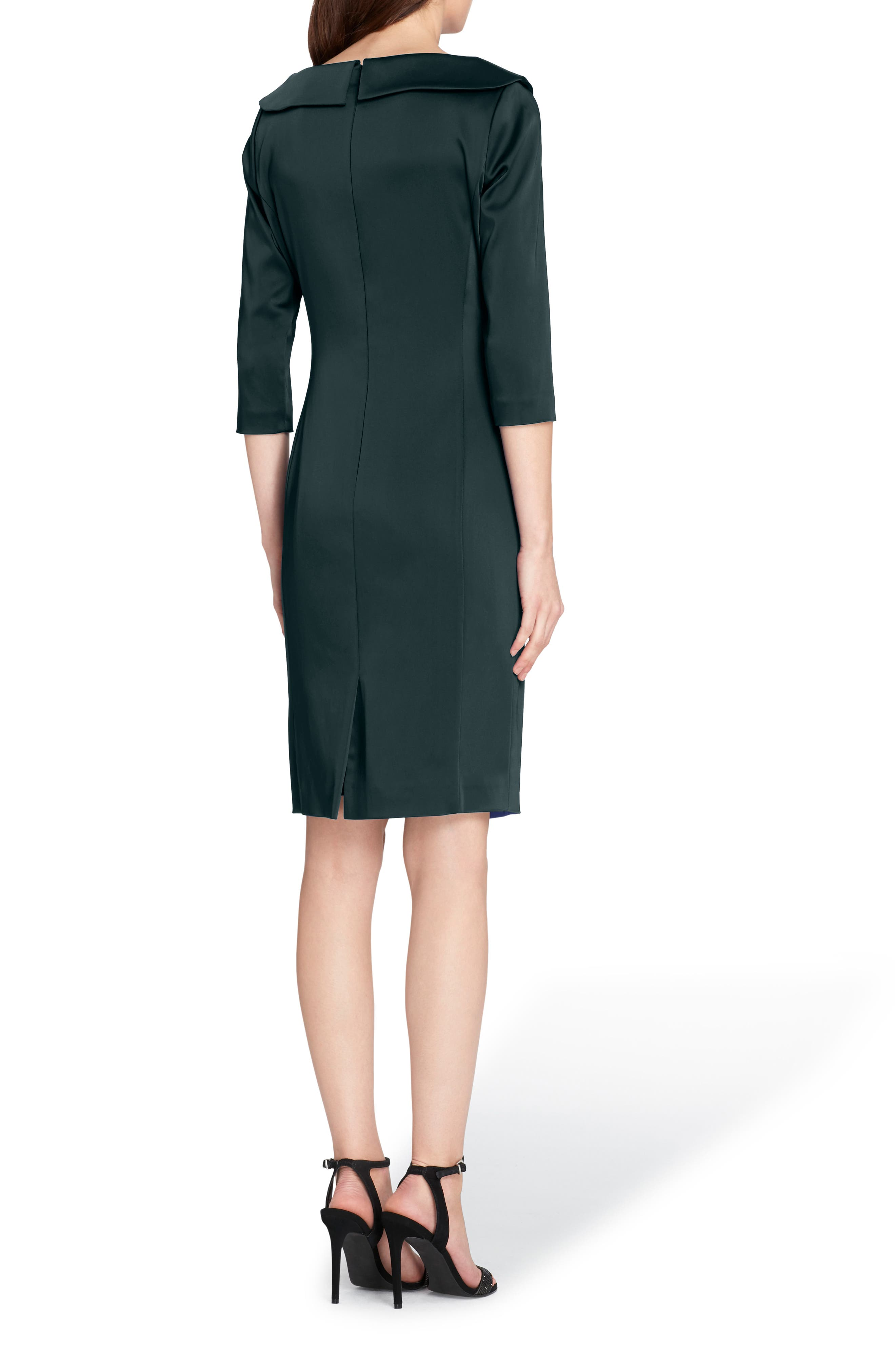 Ruched Stretch Satin Sheath Dress,                             Alternate thumbnail 2, color,                             Forest Green