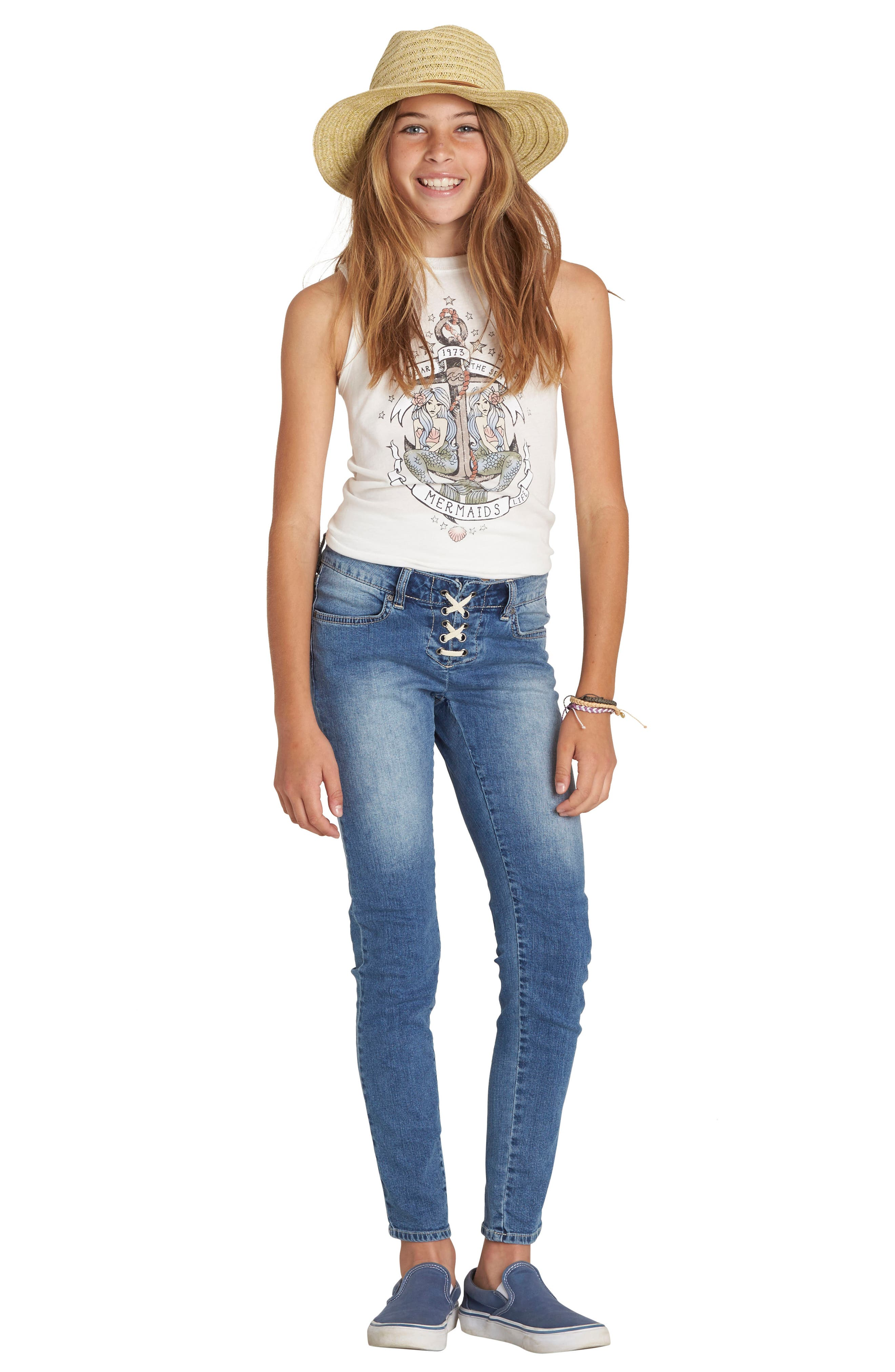 Alternate Image 4  - Billabong Side to Side Skinny Jeans (Big Girls)