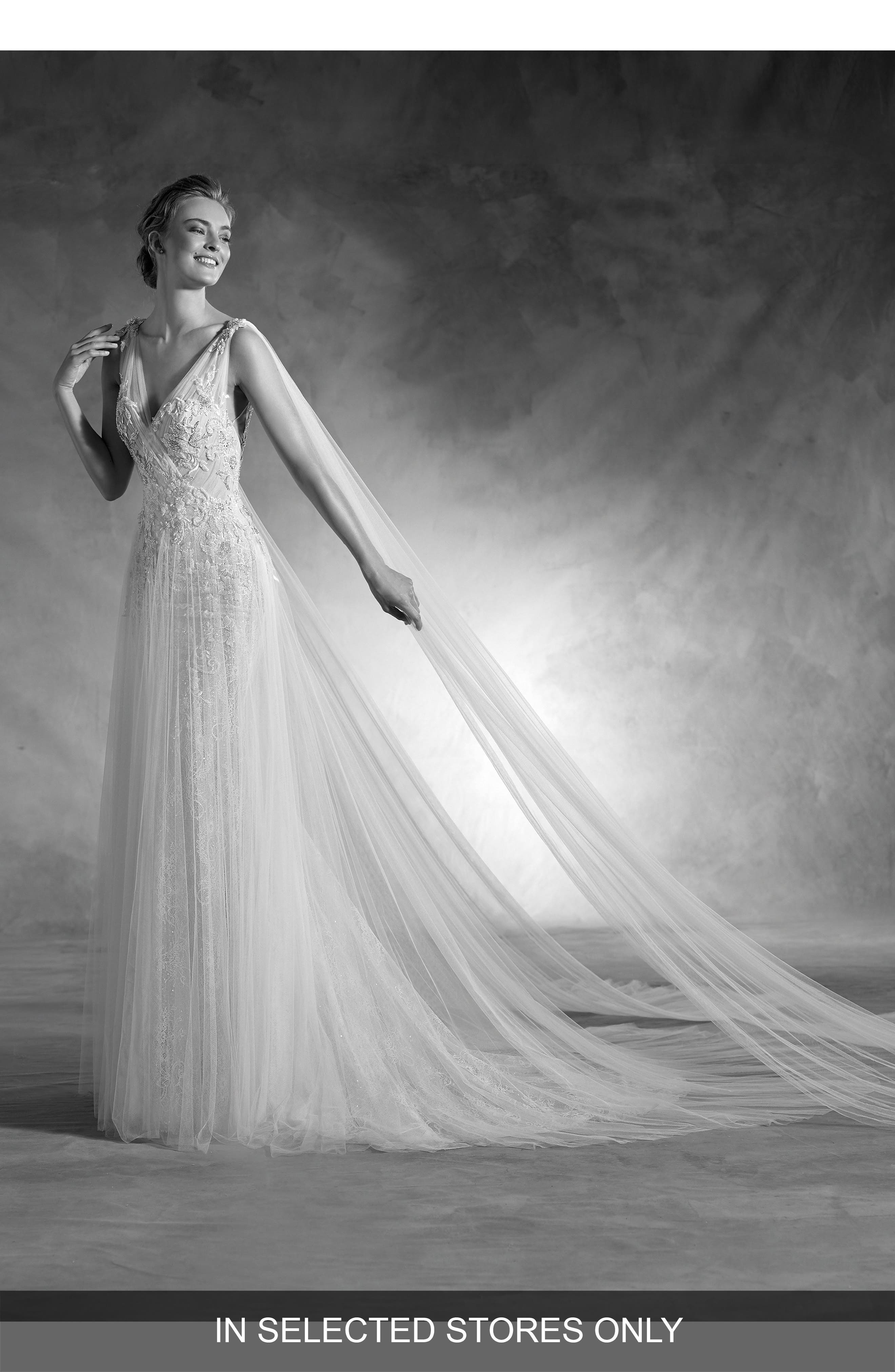 Nepal Lace & Tulle V-Neck Gown with Cascading Train,                             Main thumbnail 1, color,                             Off White