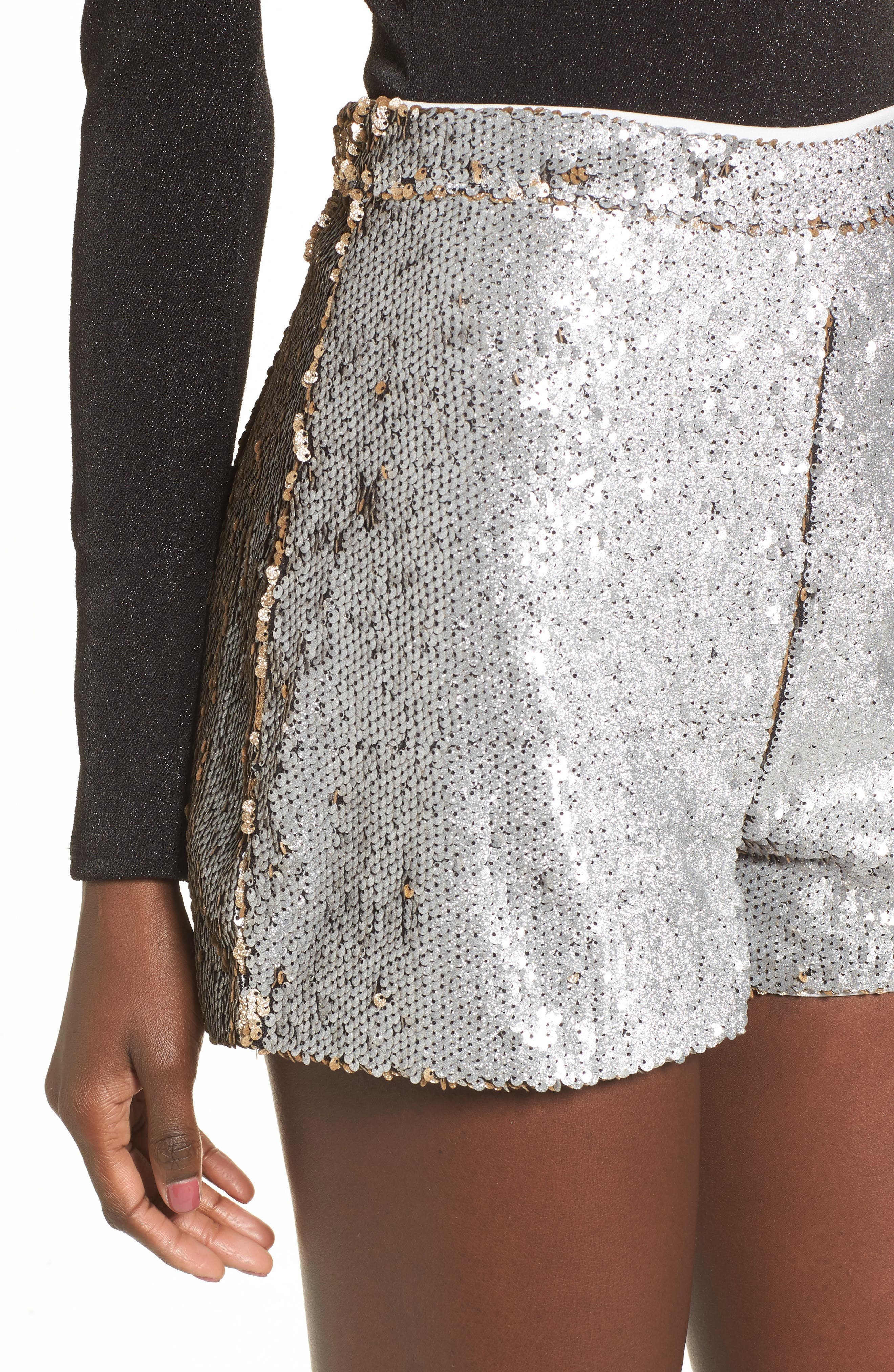 High Waist Sequin Shorts,                             Alternate thumbnail 4, color,                             Gold/ Silver