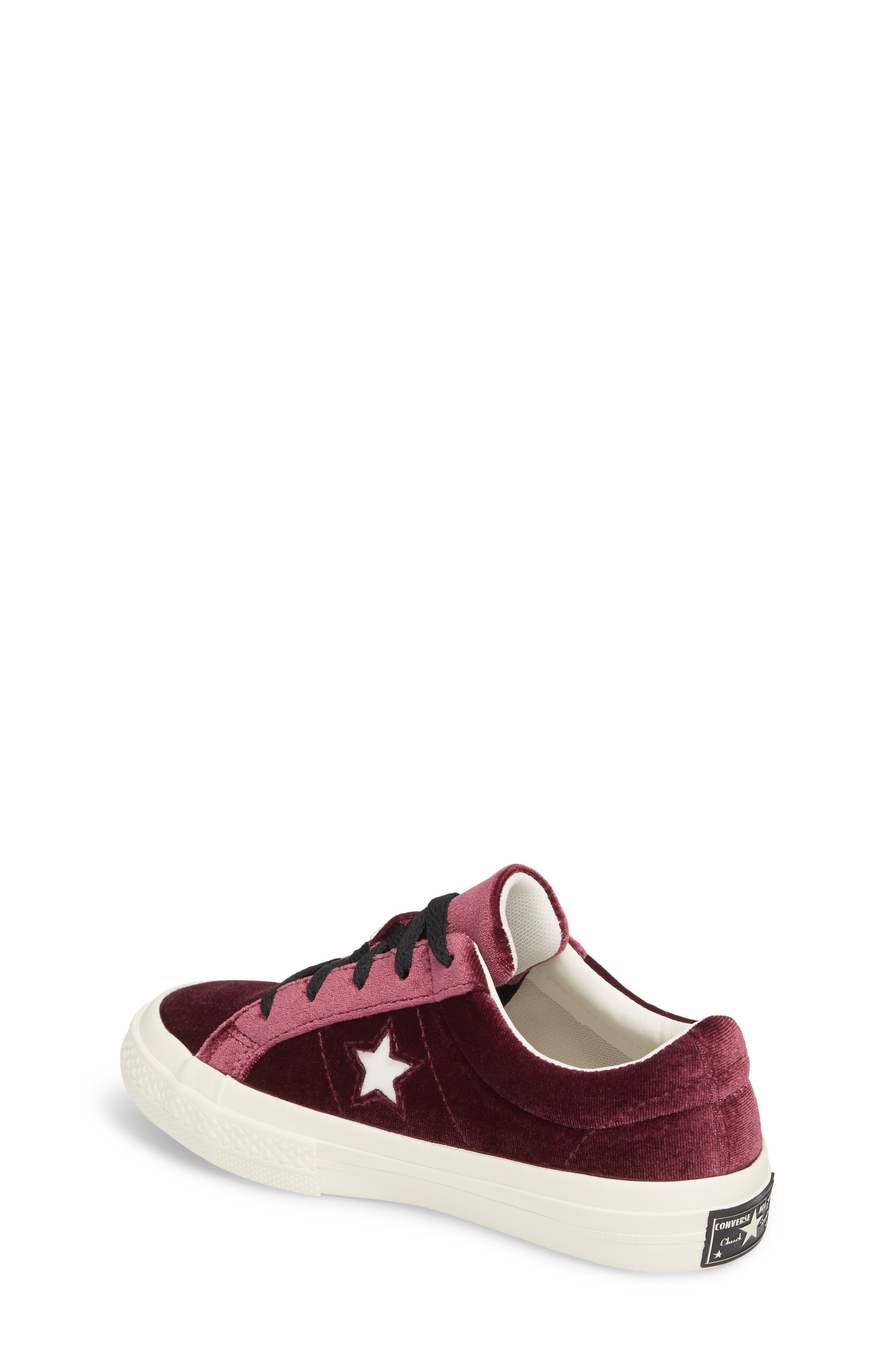 Chuck Taylor<sup>®</sup> All Star<sup>®</sup> One Star Velvet Platform Sneaker,                             Alternate thumbnail 2, color,                             Sangria Velvet