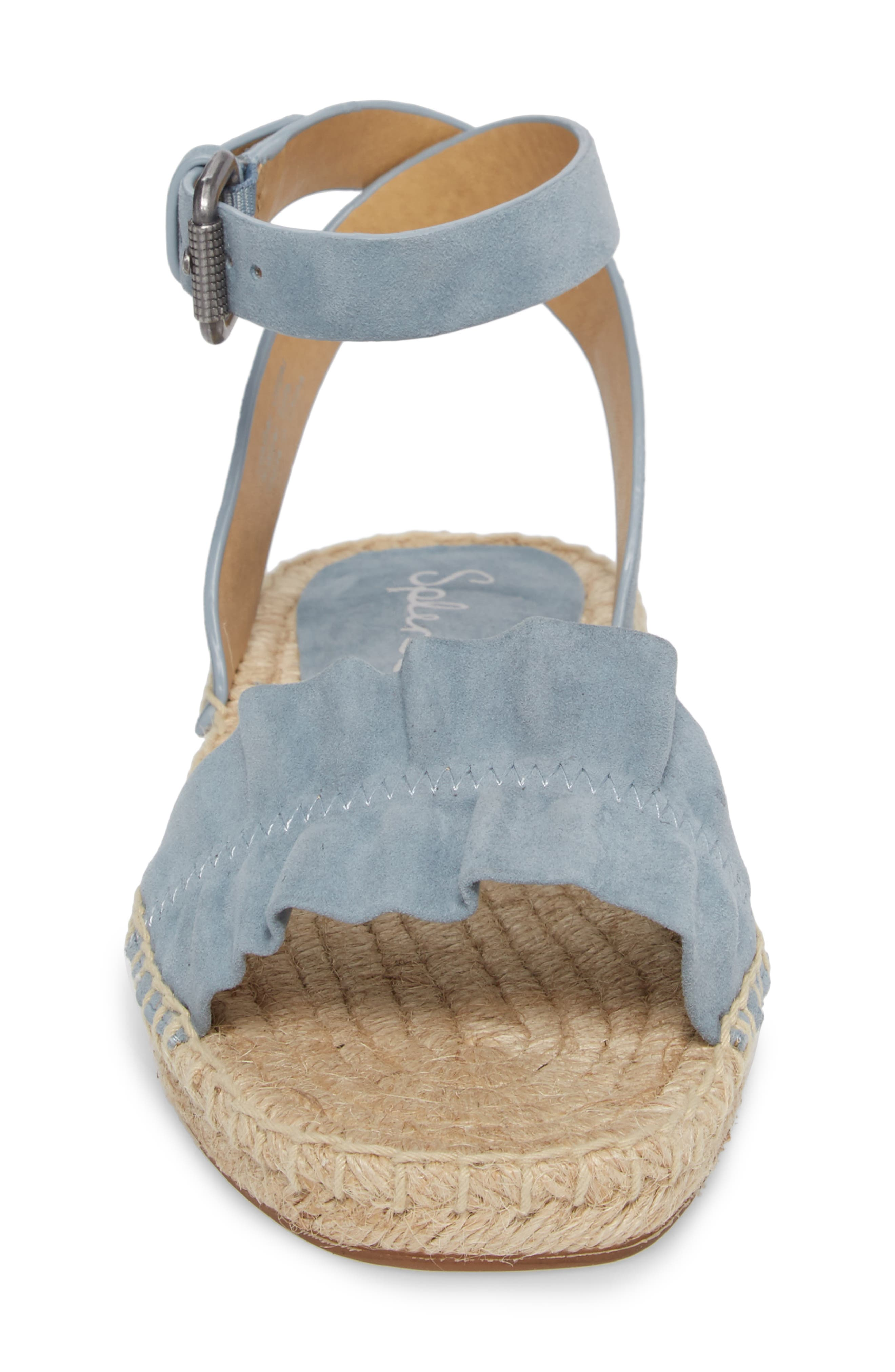 Becca Ruffled Espadrille Sandal,                             Alternate thumbnail 4, color,                             Shadow Blue Suede